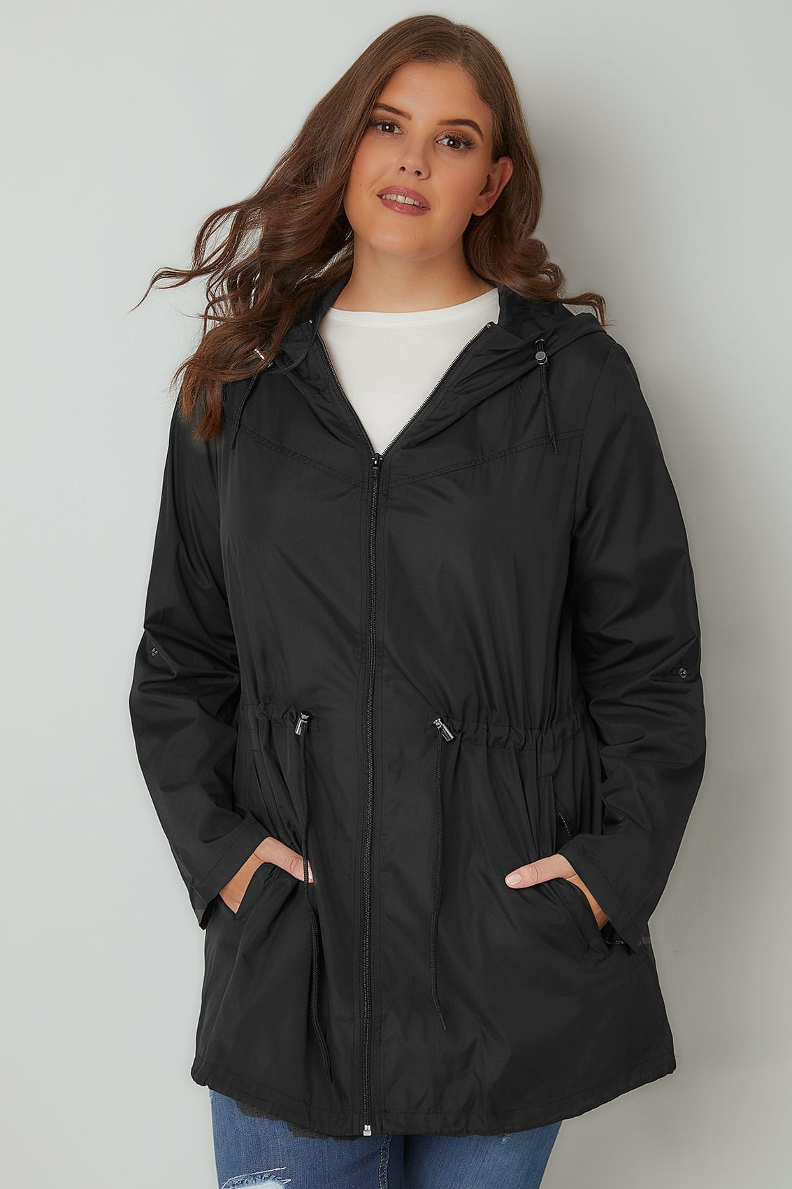Black Pocket Parka Jacket