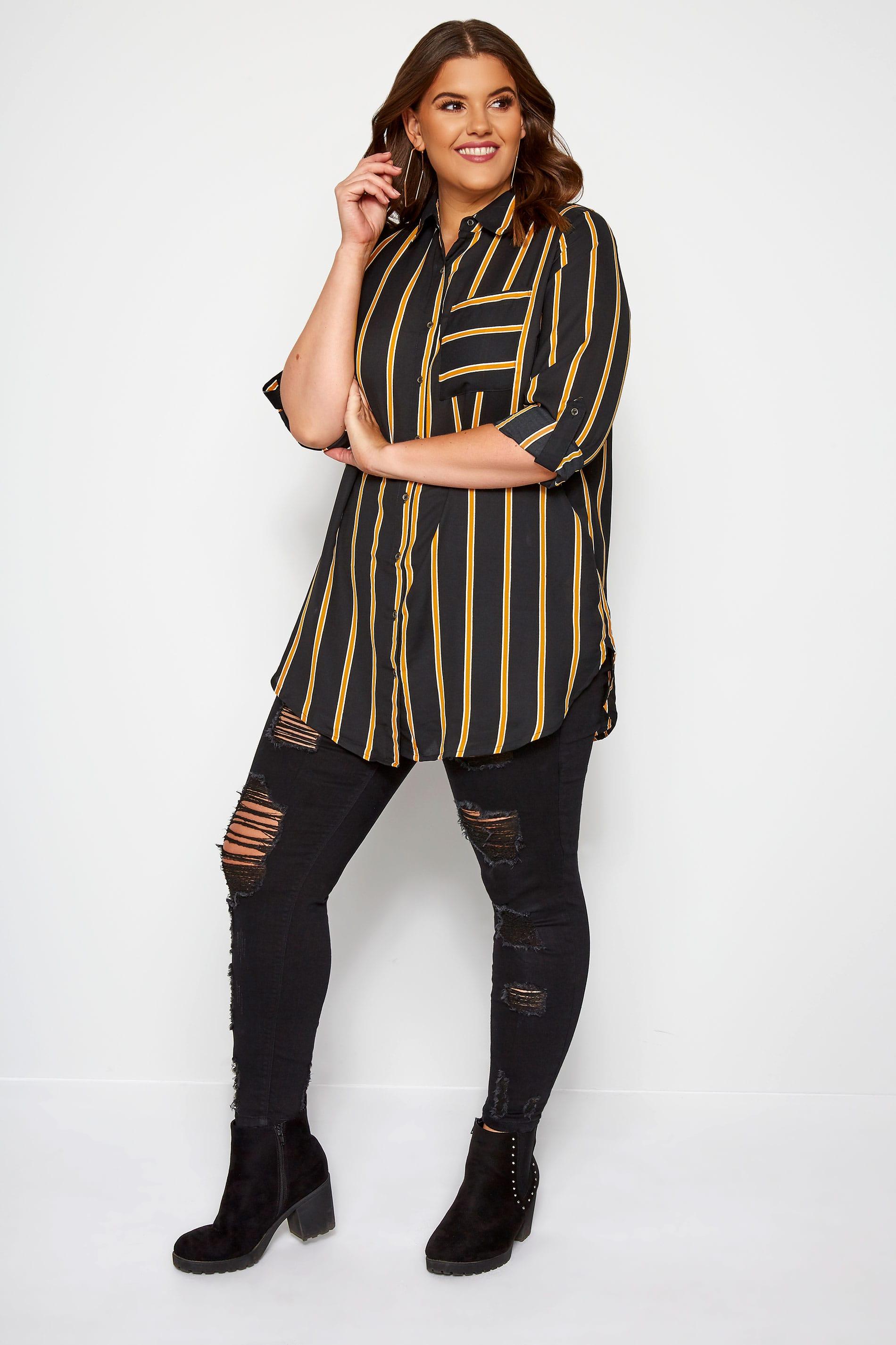 Black & Mustard Striped Oversized Boyfriend Shirt