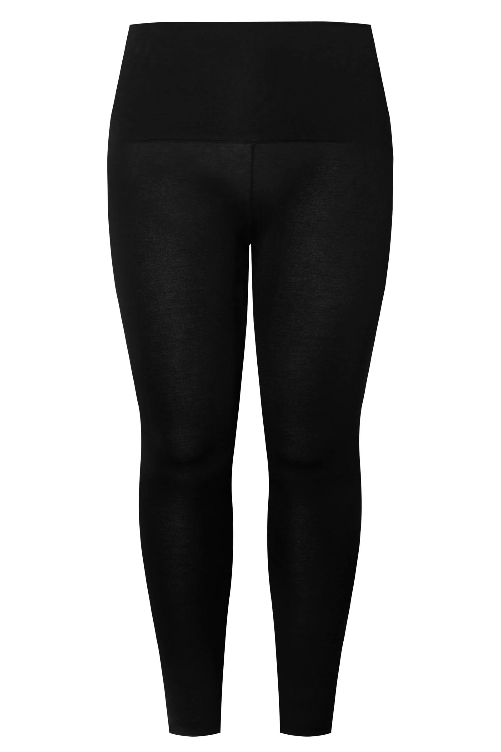 Knee Length High Waist Leggings Pant Viscose Stretch BLACK 20-26 XL Plus Curve