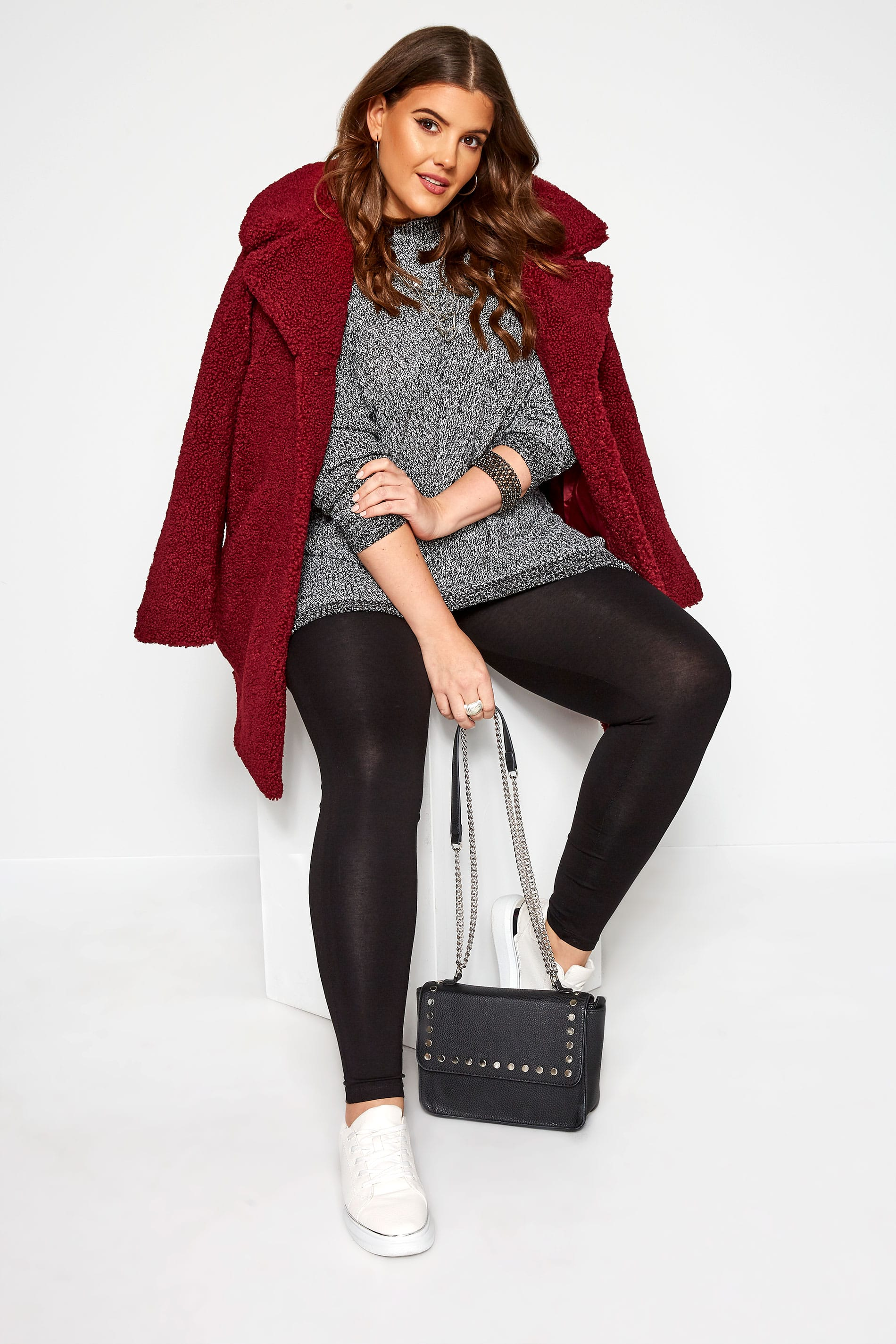 Black TUMMY CONTROL Soft Touch Cropped Leggings Plus Size