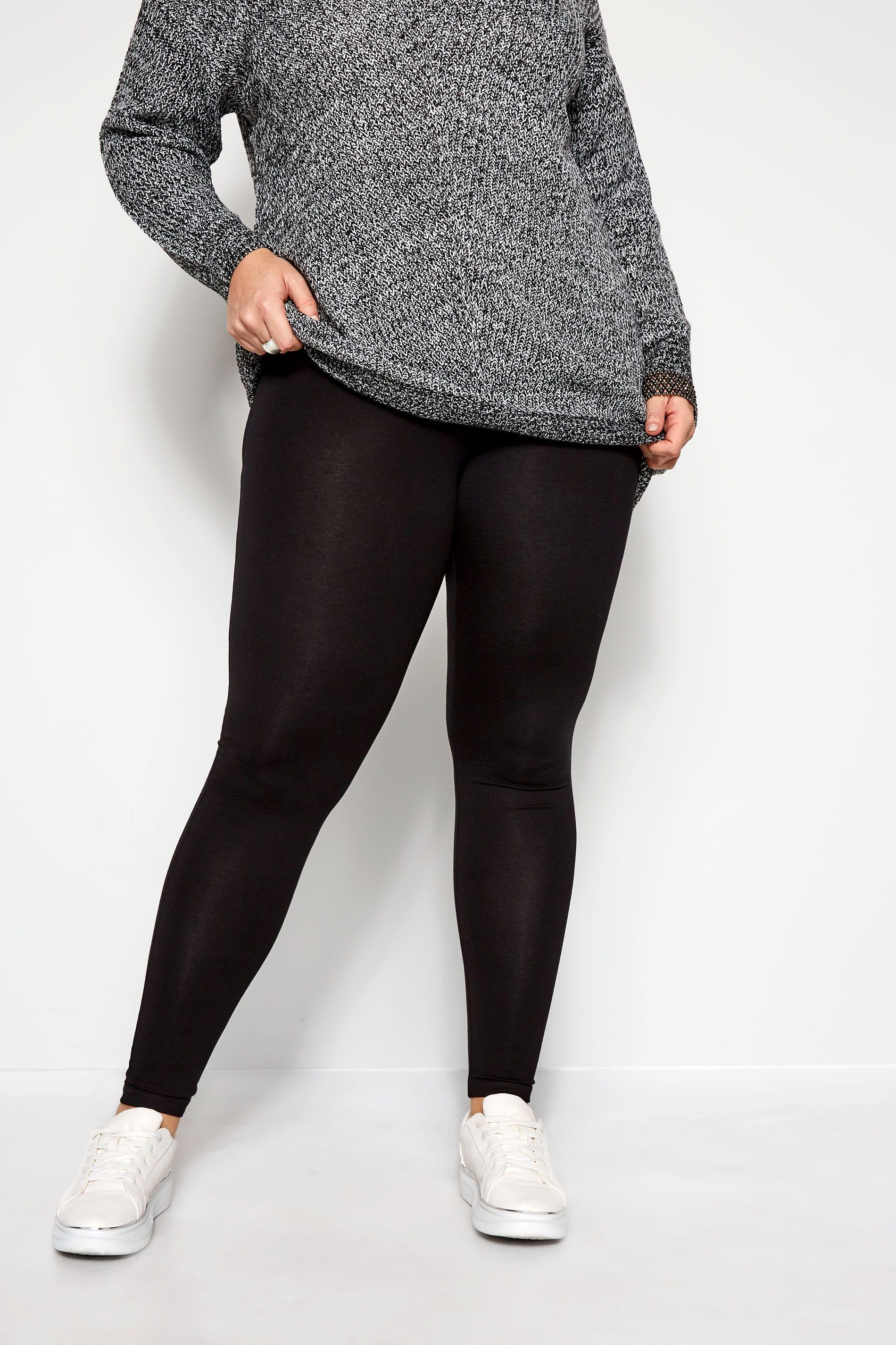 Black TUMMY CONTROL Soft Touch Leggings Plus Size 16 to 36