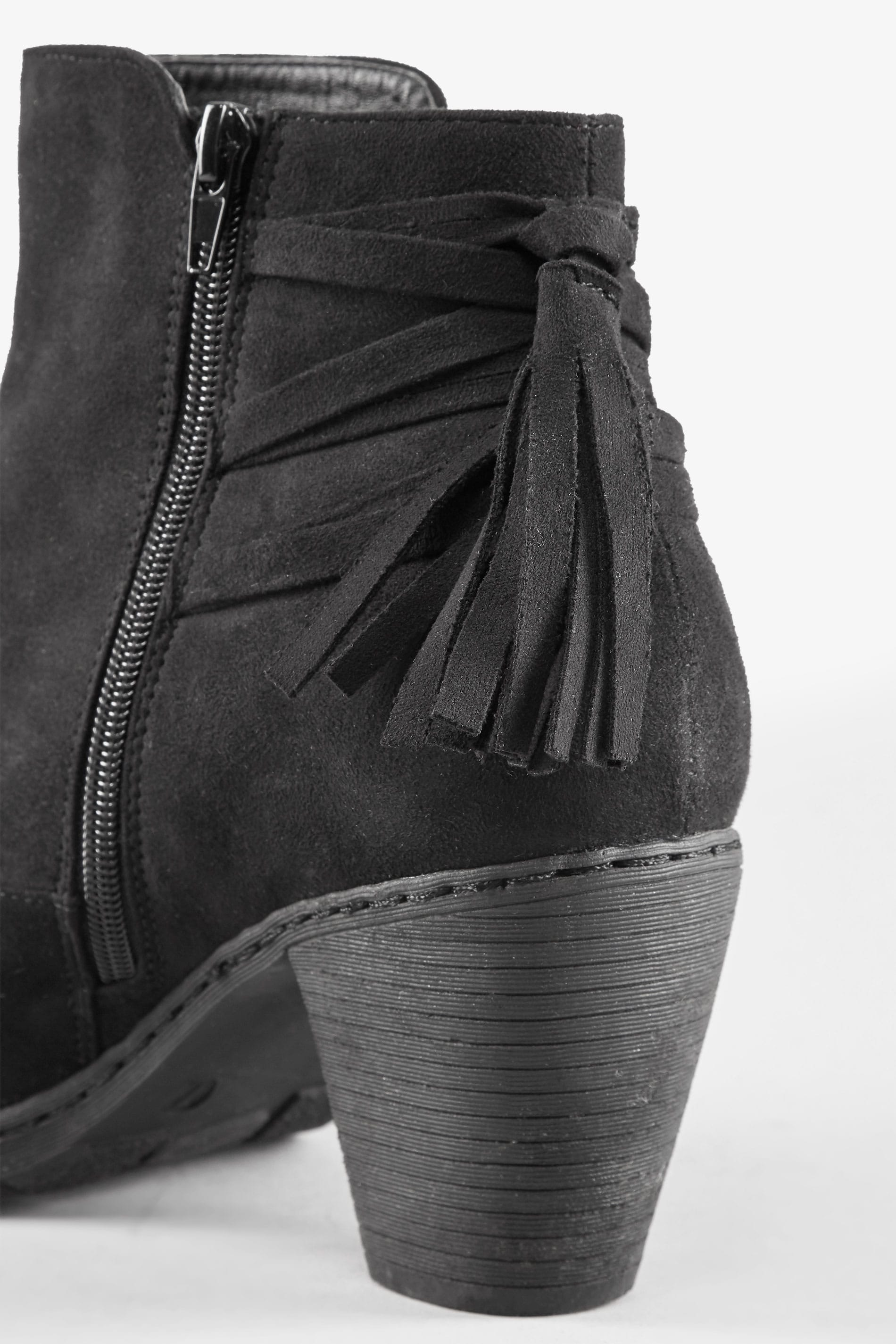 Black Tassel Heeled Ankle Boots In