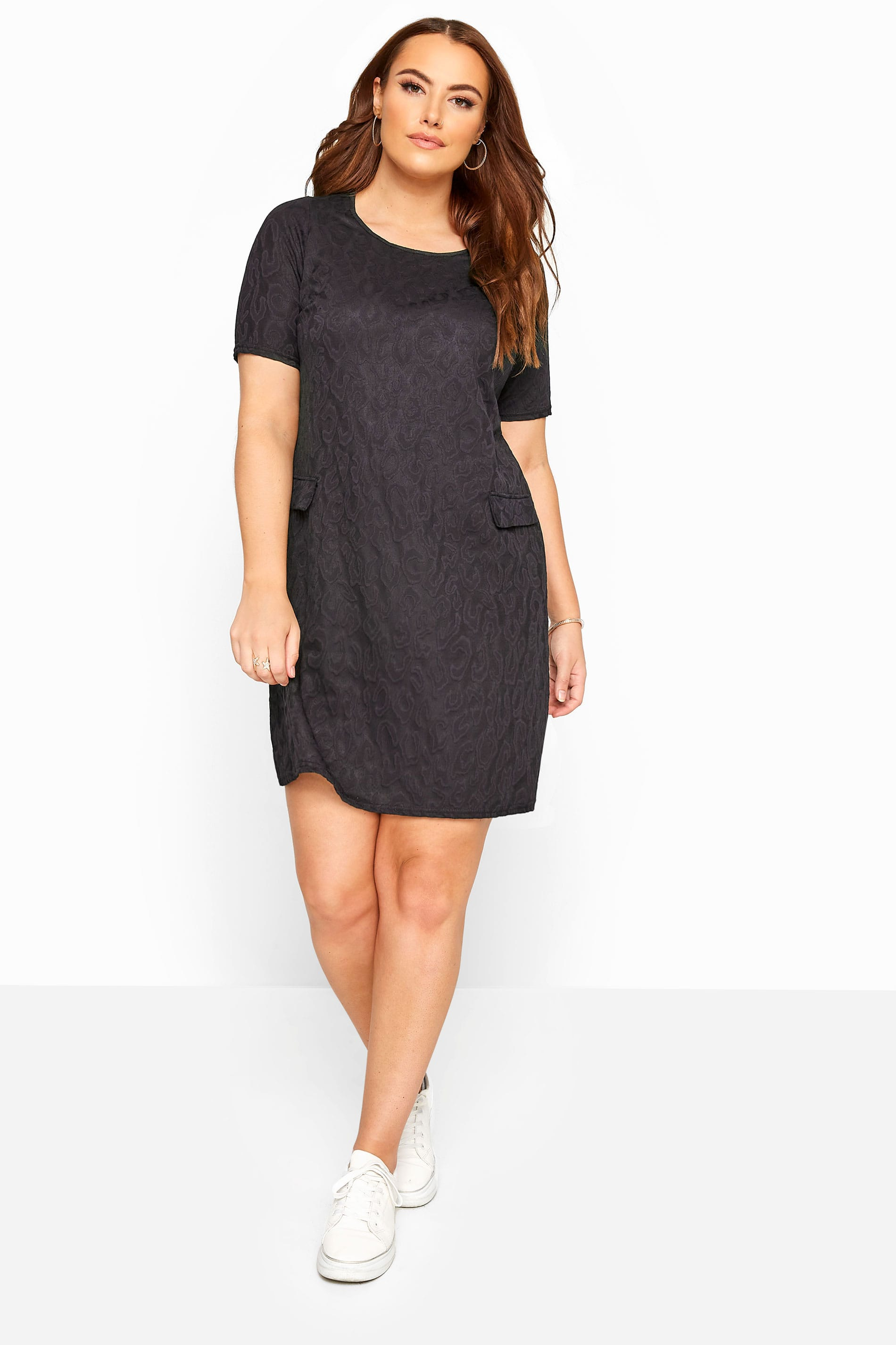 Black Textured Animal Print Tunic Dress