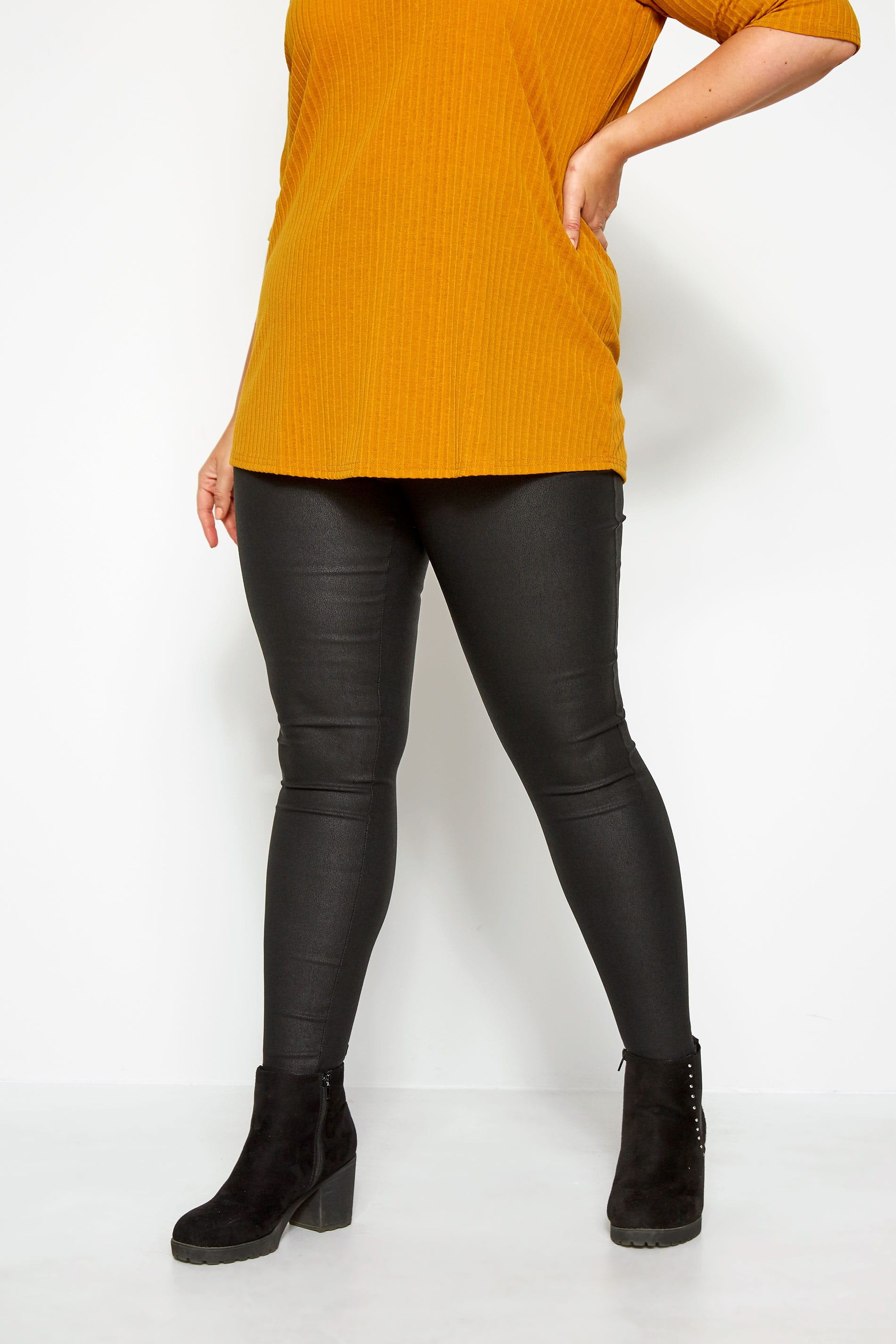 Black Textured Coated Leggings