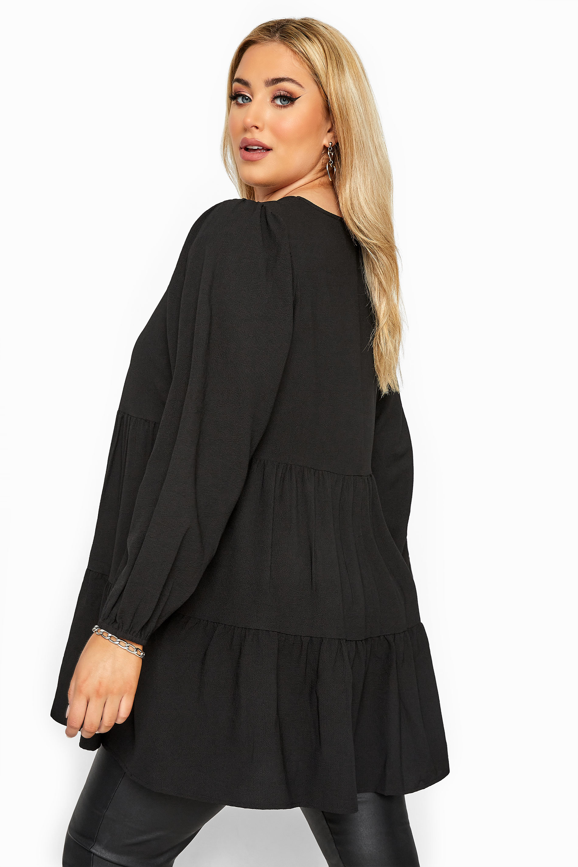 Black Tiered Smock Blouse