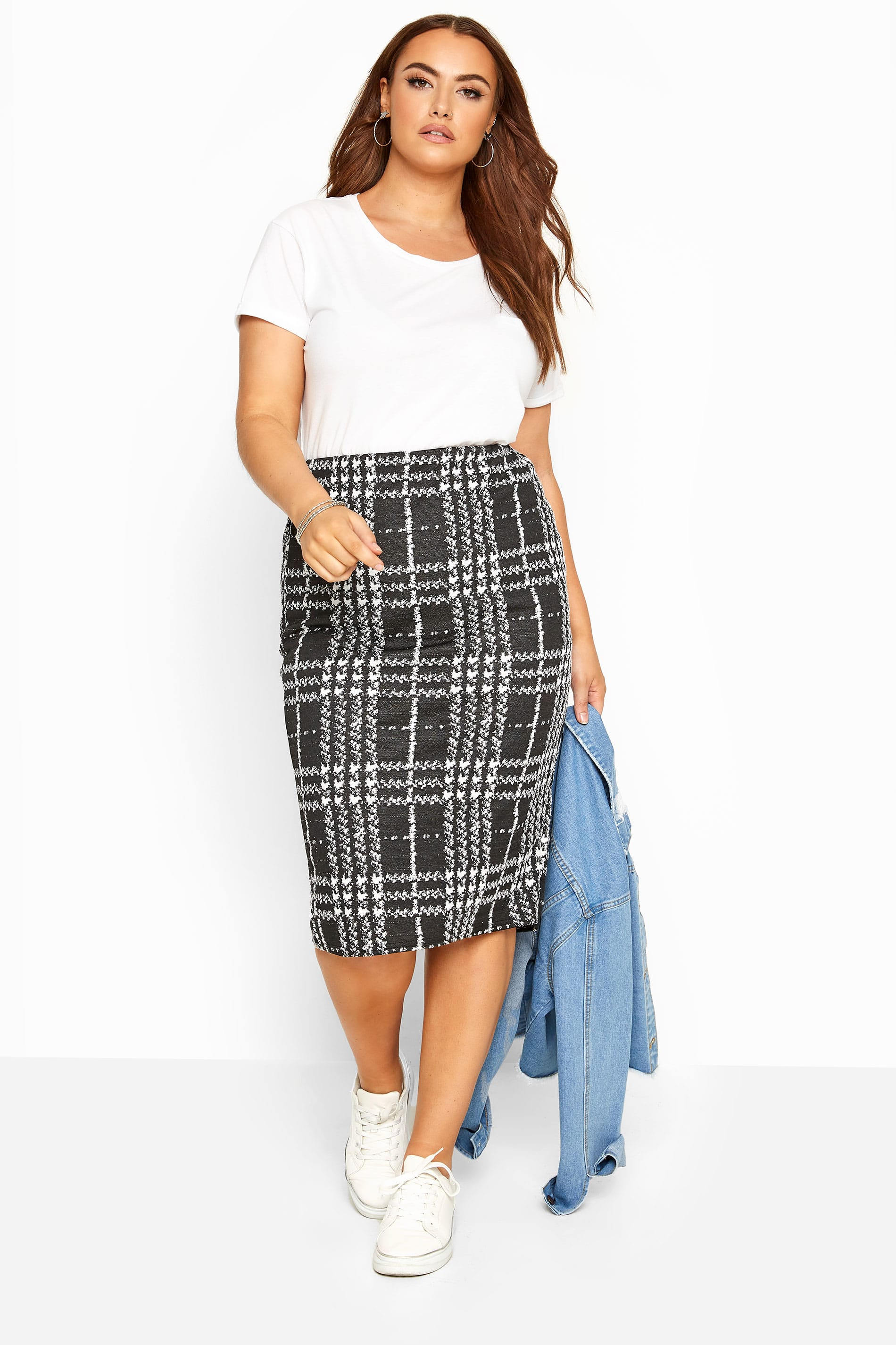 Black & White Check Pencil Skirt