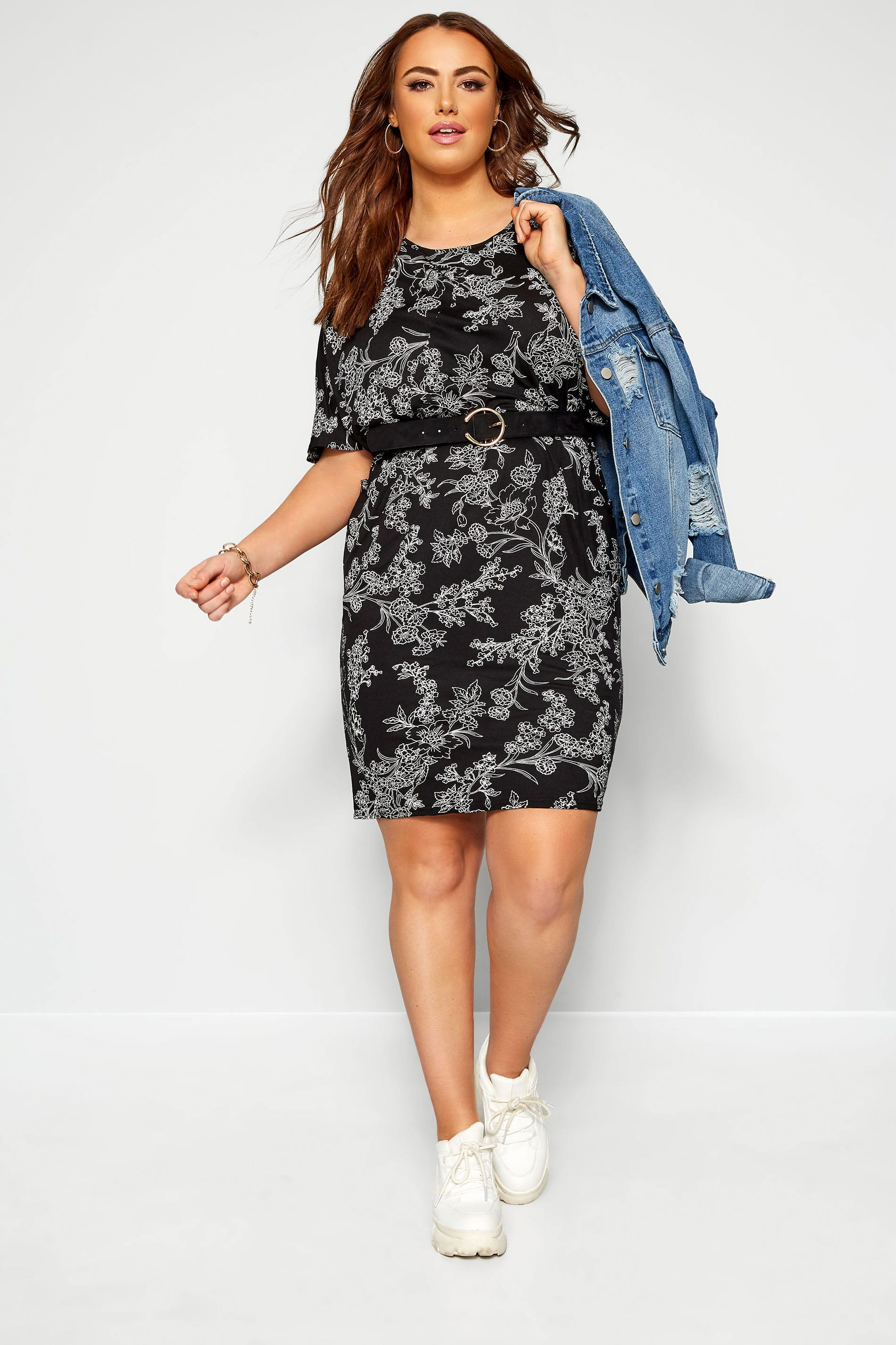 Black & White Floral Drape Pocket Cocoon Dress