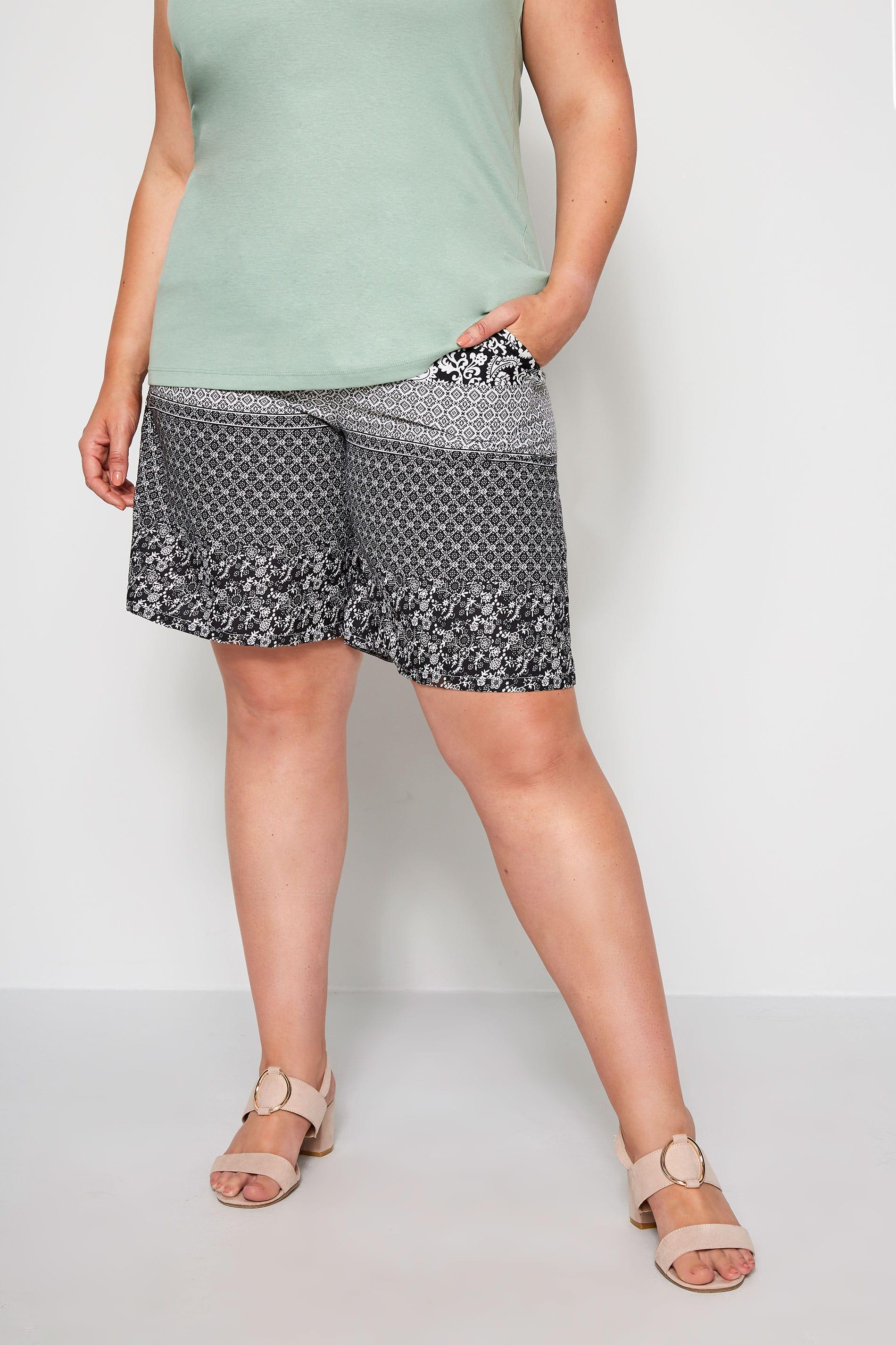Short met elastische tailleband & paisley print - zwart
