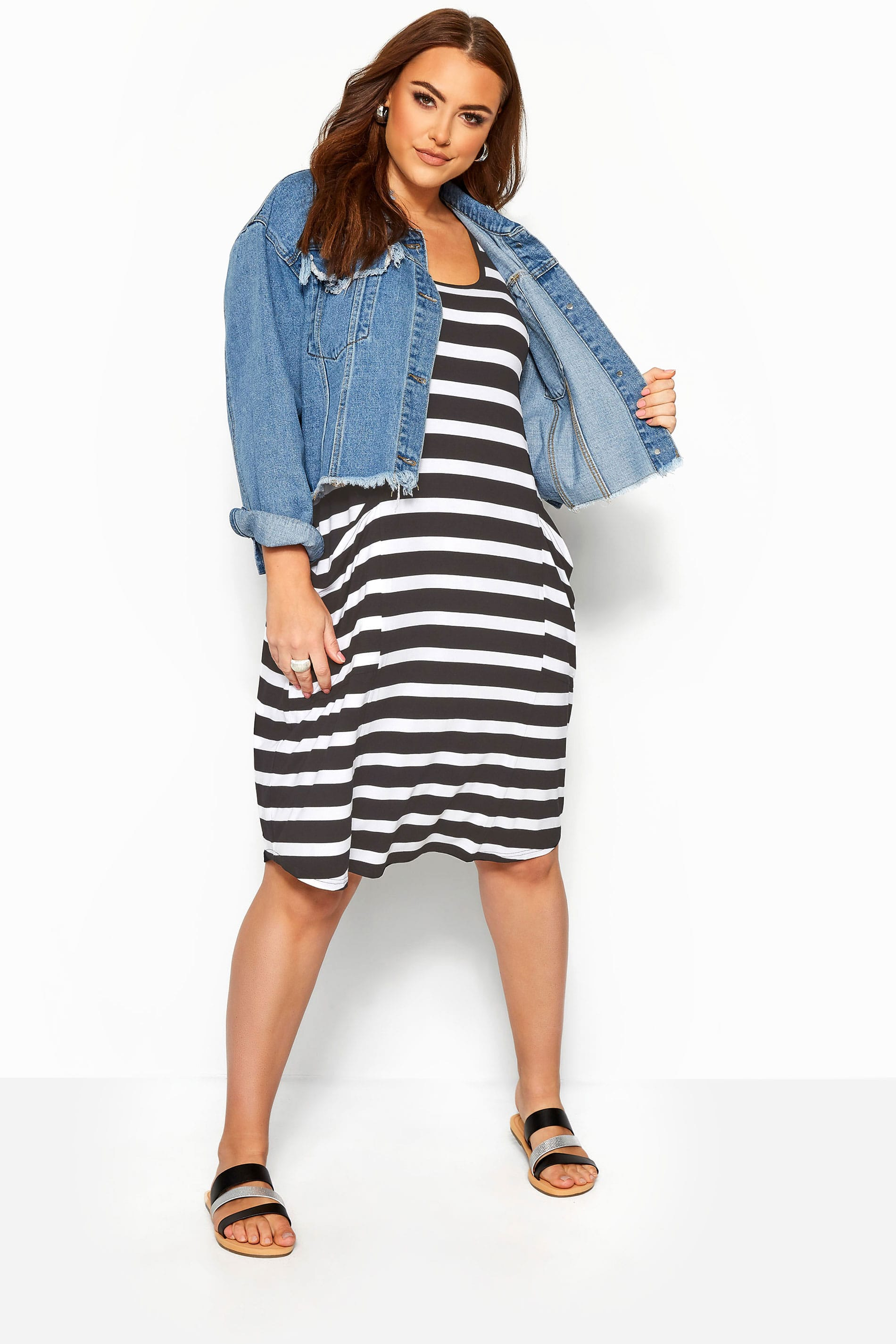 Black & White Stripe Sleeveless Drape Pocket Dress