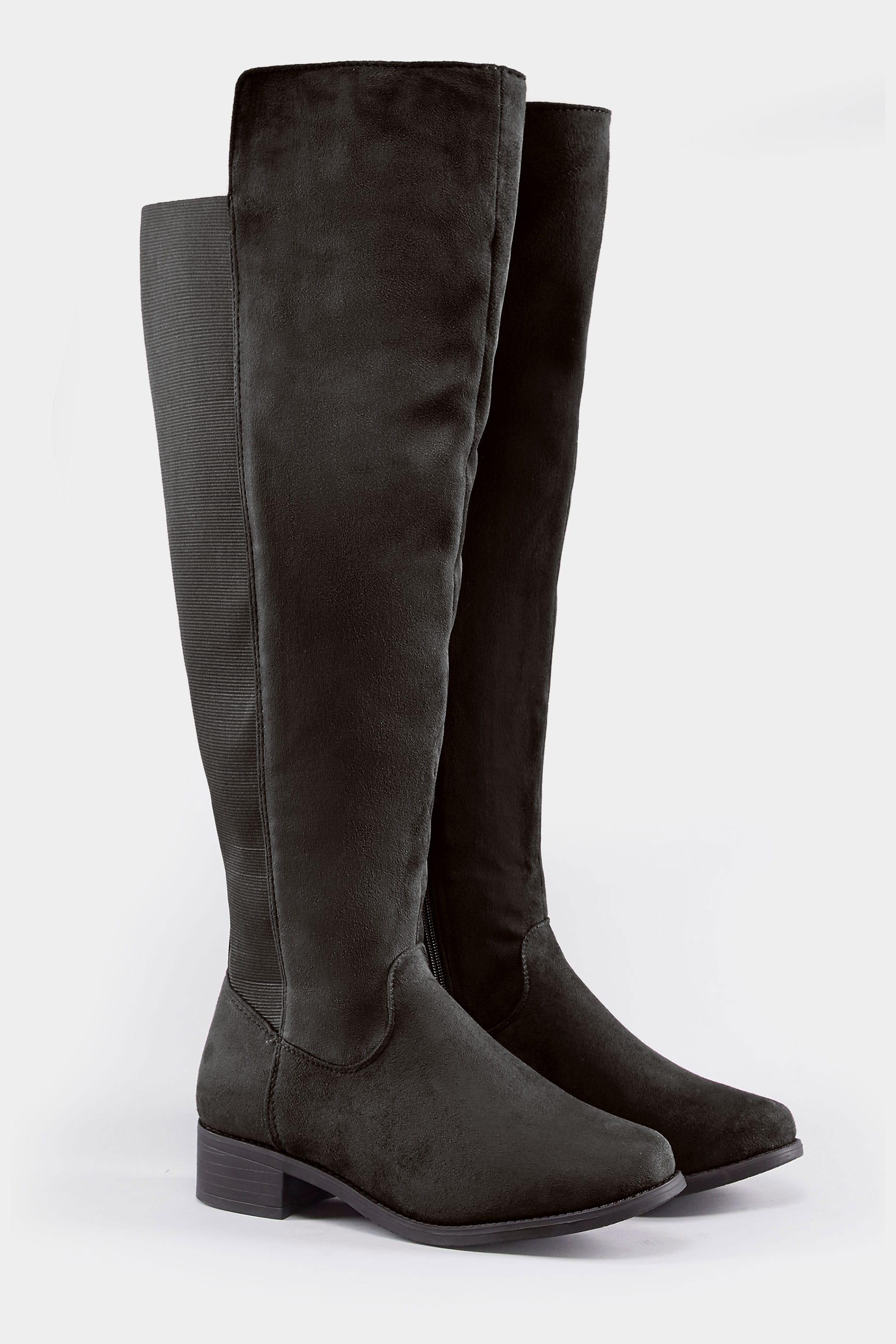 Schwarze Fit Passform Knee Over Und Weiter Elastischen Eee Stiefel Einsätzen Mit 8wmnPvO0yN