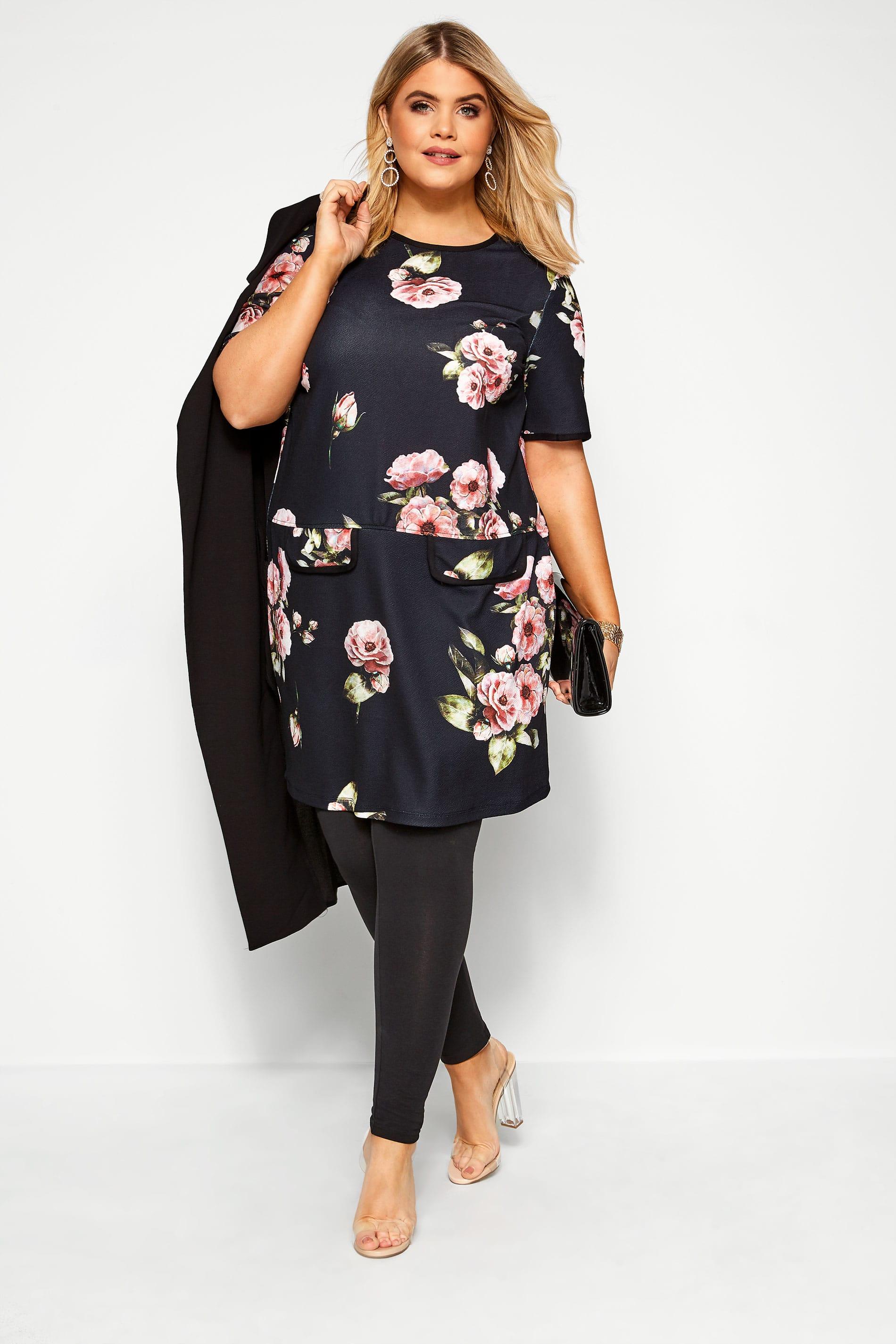 Tunika-Kleid mit Blumen-Muster - Schwarz/Pink