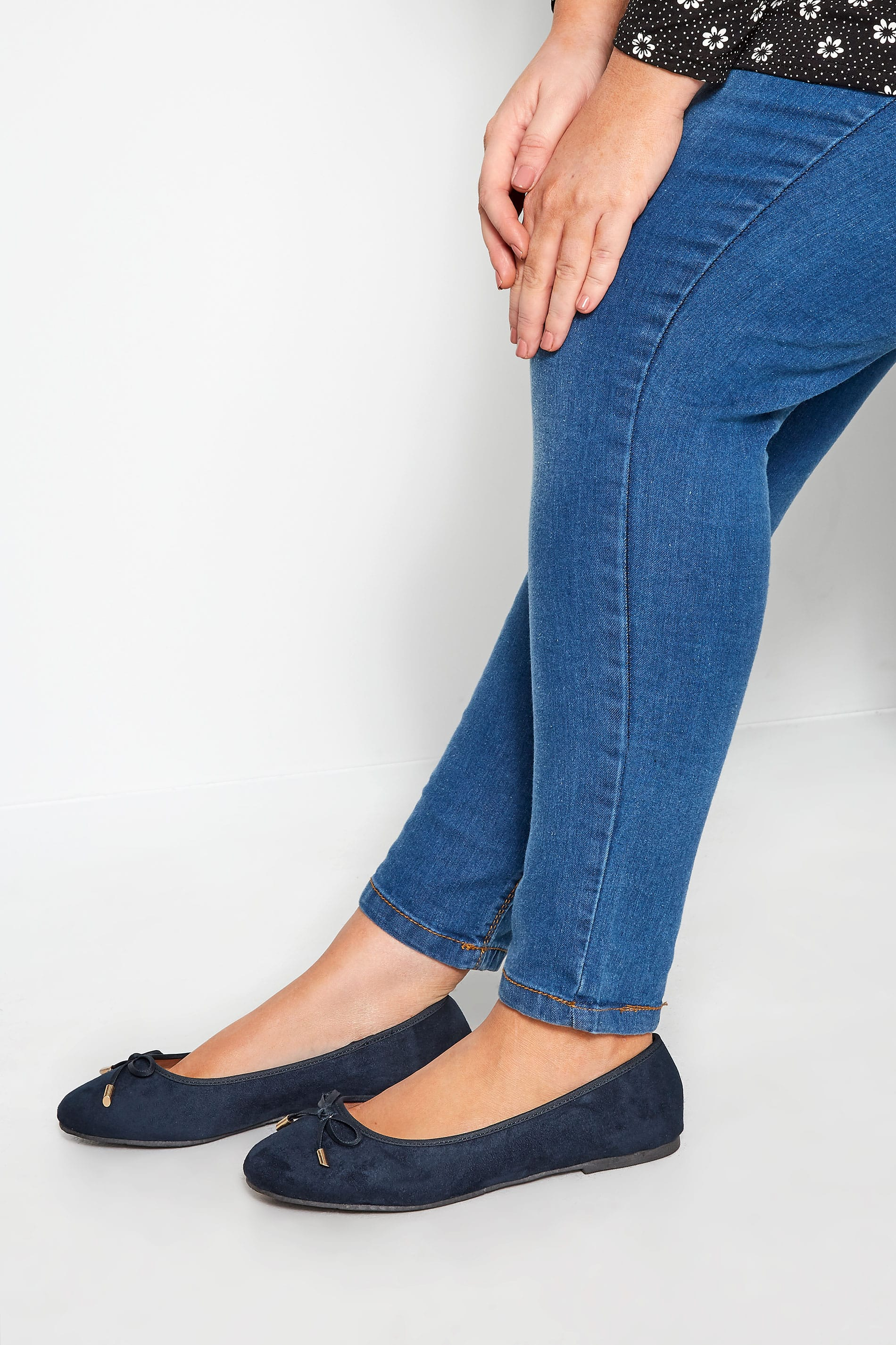 Navy Ballerina Pumps In Extra Wide Fit