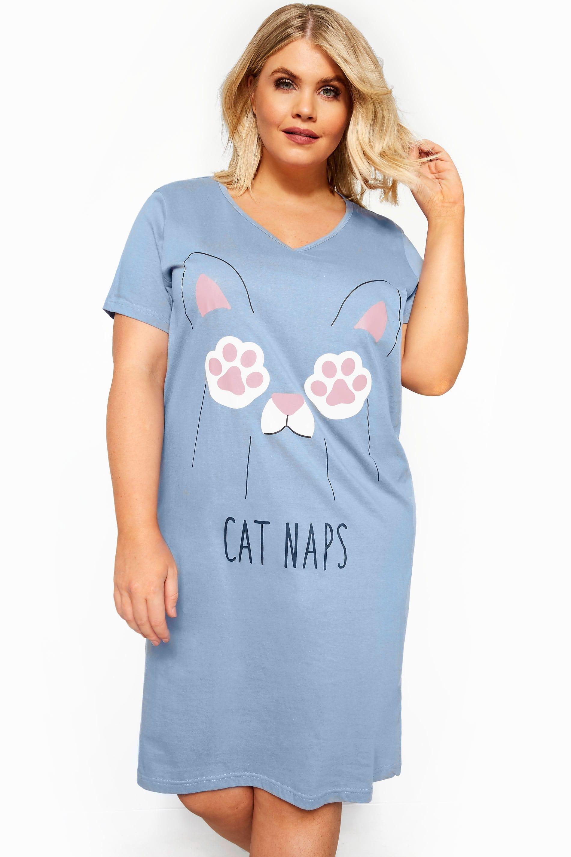 Blue 'Cat Naps' Nightdress
