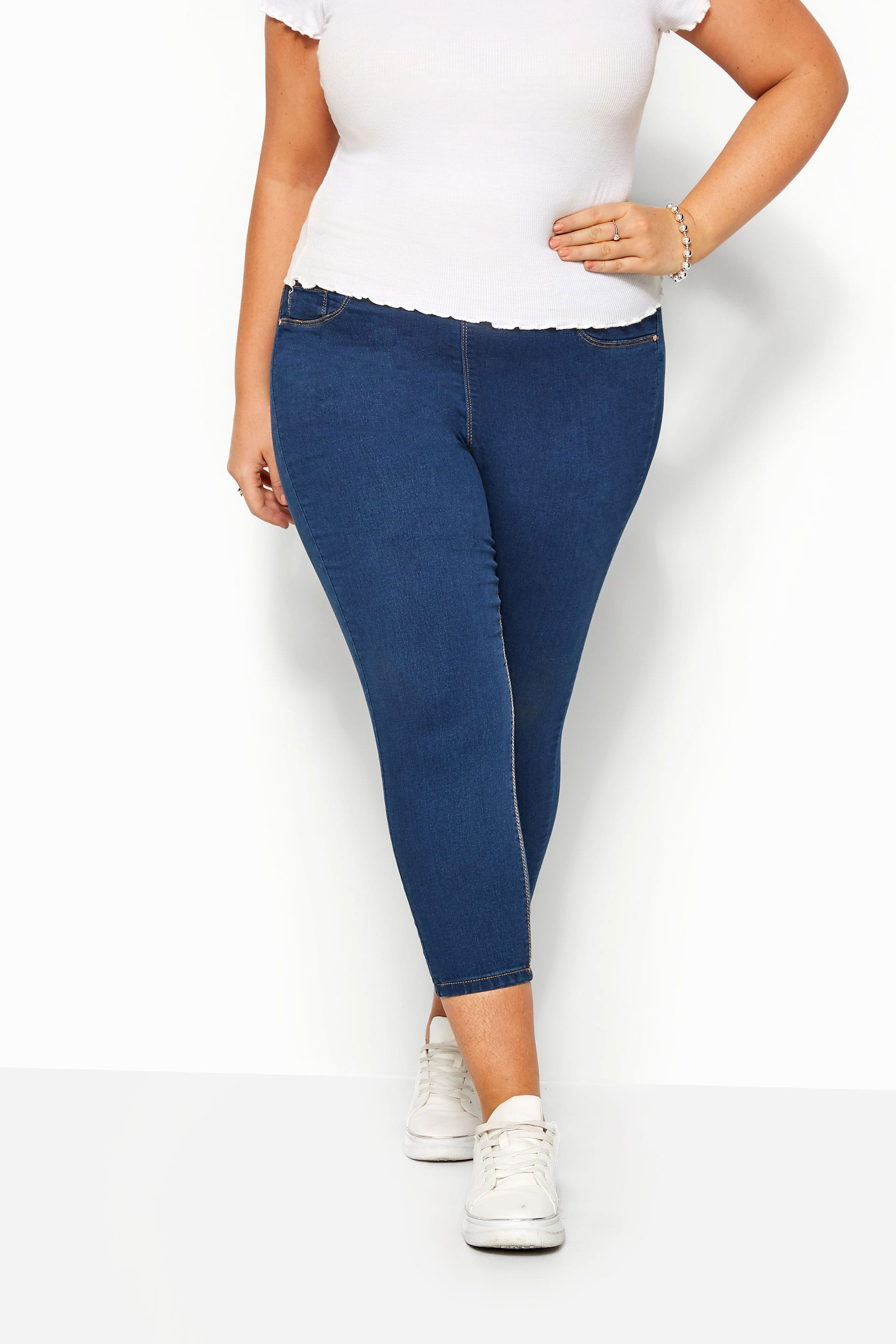 Yours-Clothing-Women-039-s-Plus-Size-Blue-Cropped-Jenny-Jeggings