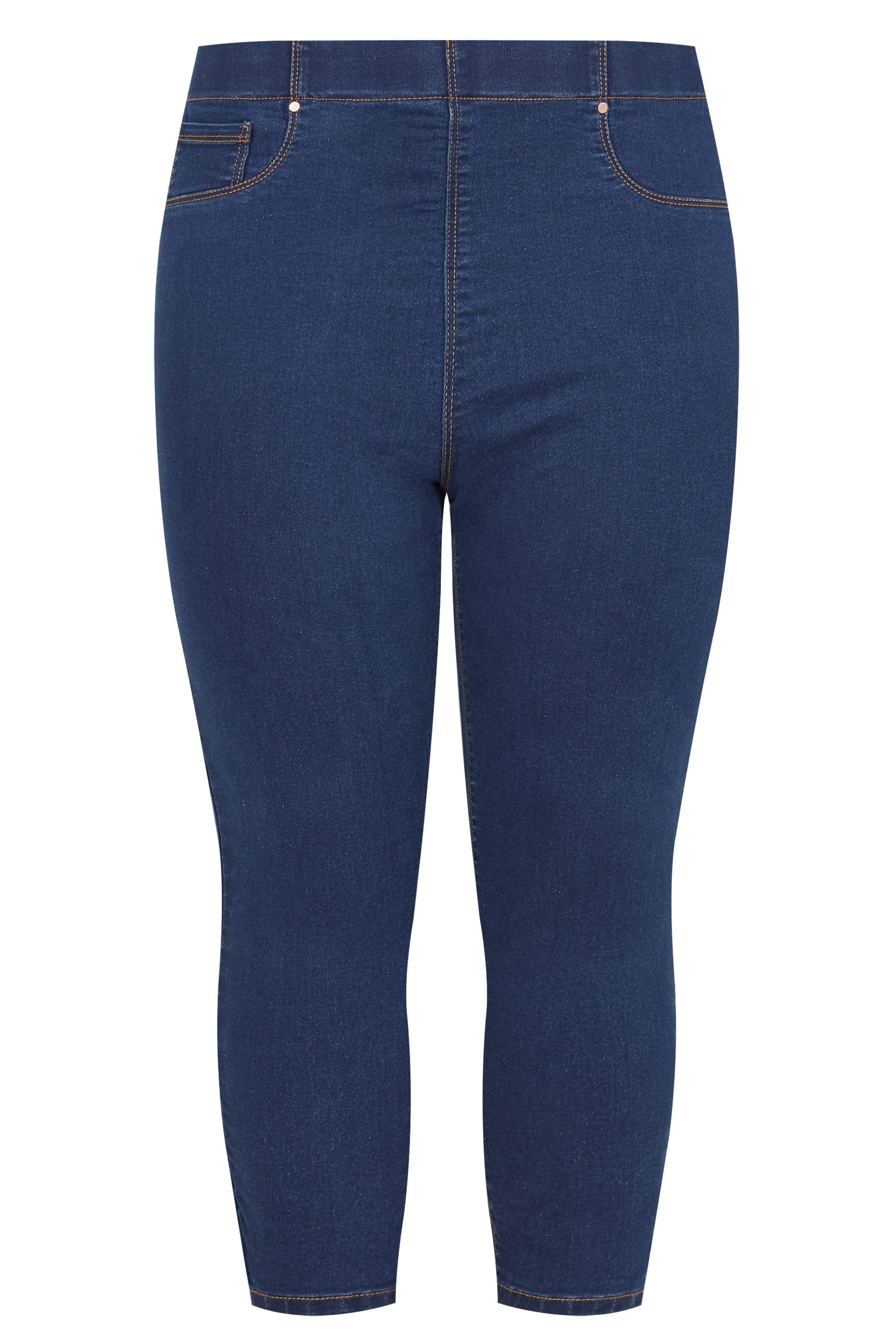 Yours-Clothing-Women-039-s-Plus-Size-Blue-Cropped-Jenny-Jeggings miniatuur 3
