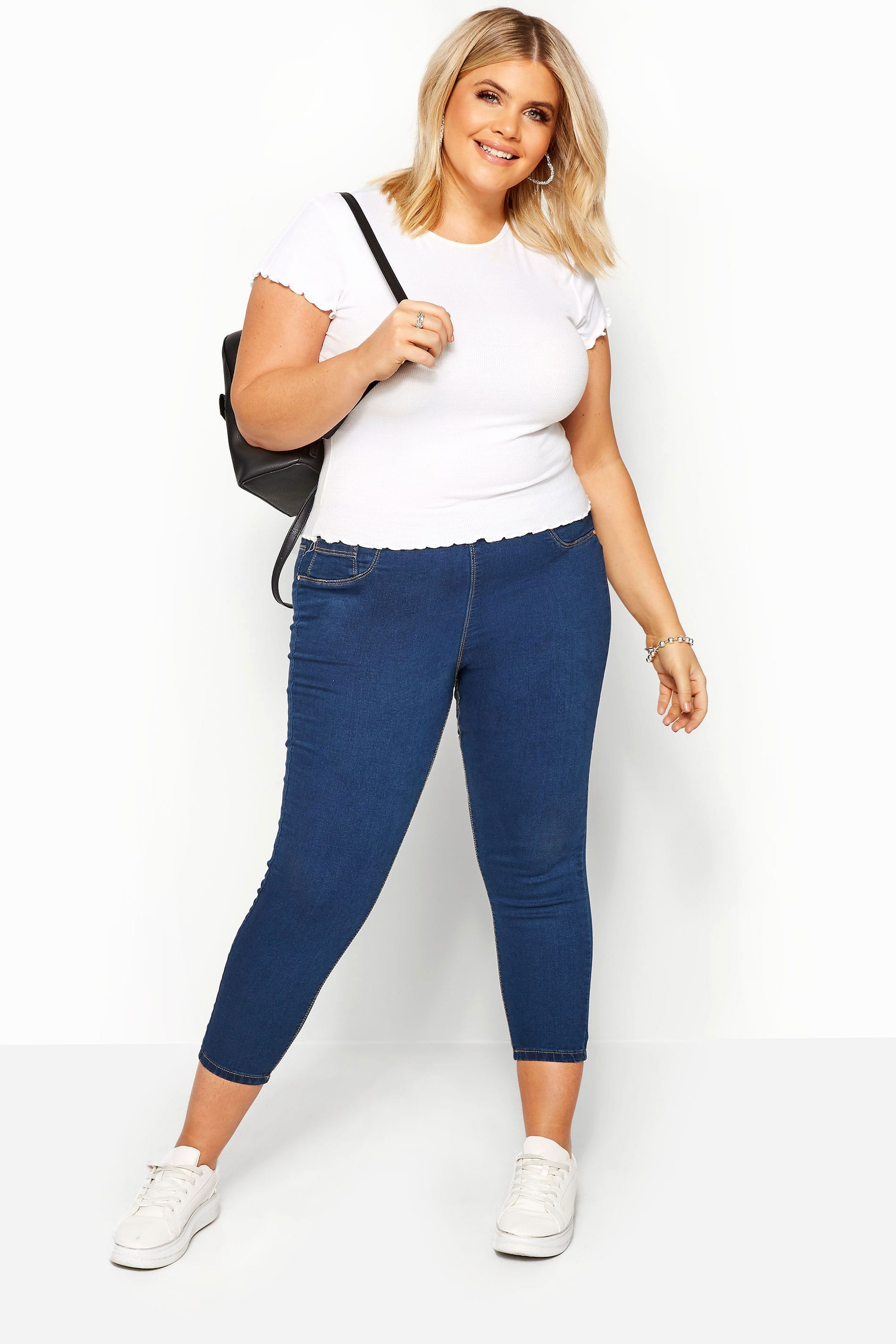 Yours-Clothing-Women-039-s-Plus-Size-Blue-Cropped-Jenny-Jeggings miniatuur 2