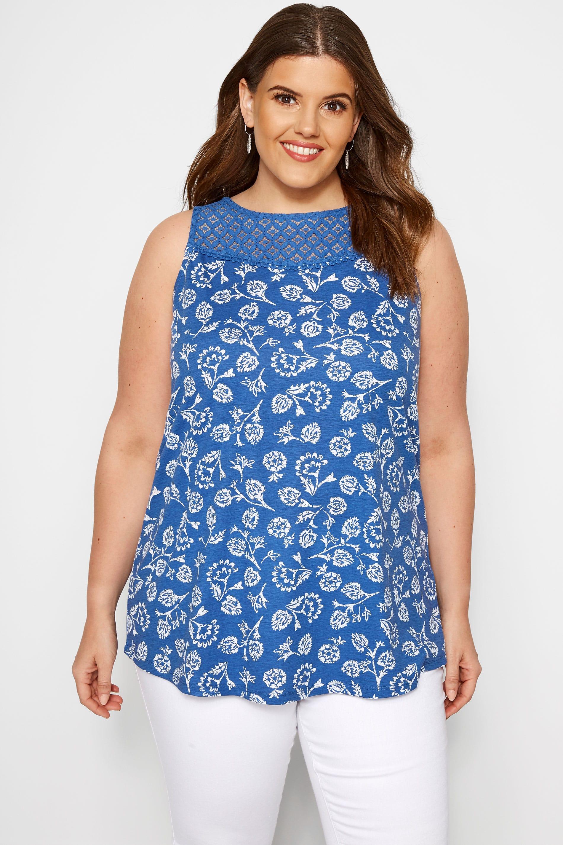 Blue Floral Crochet Vest Top