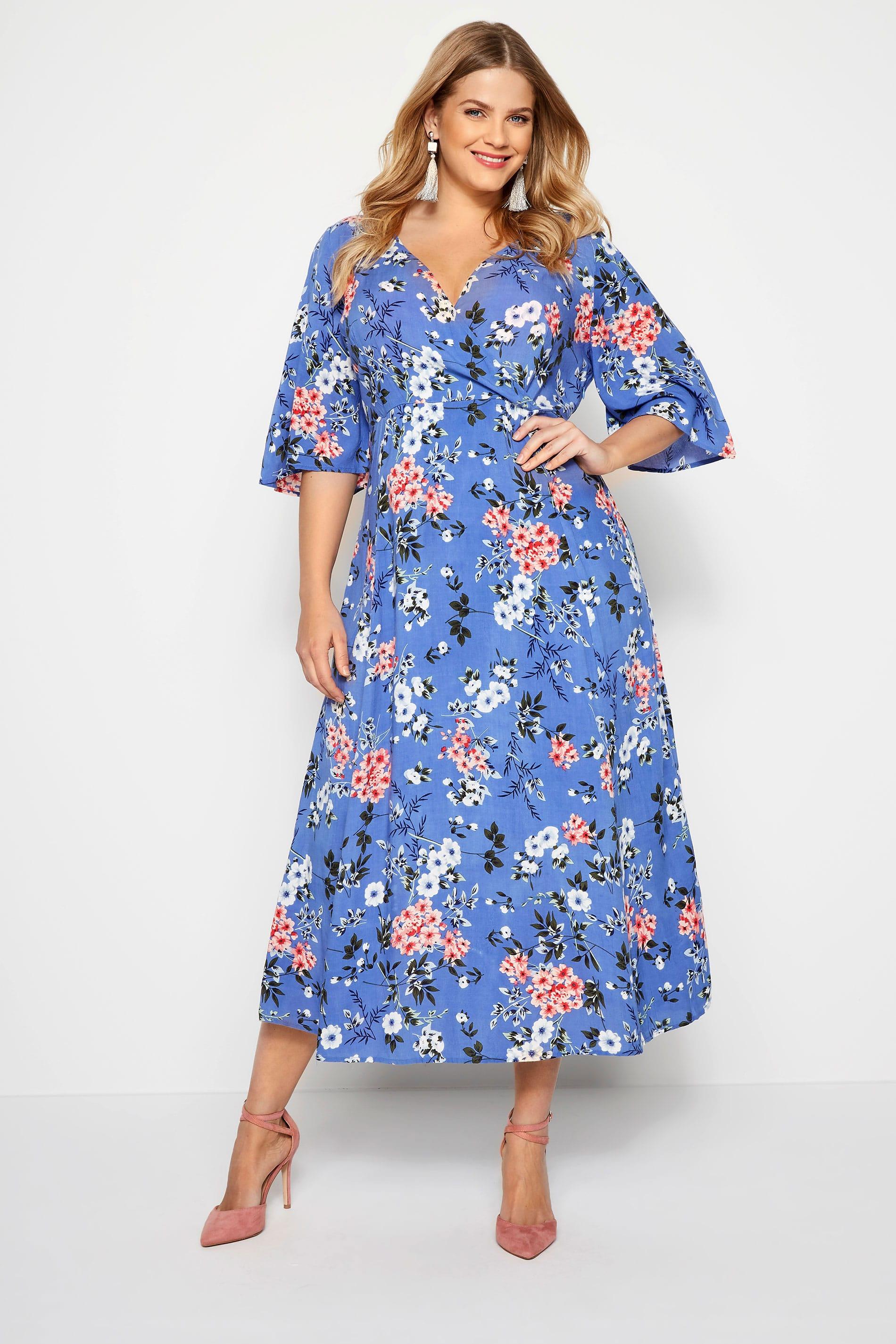 Blauwe maxi-jurk met wijde mouwen & bloemenprint