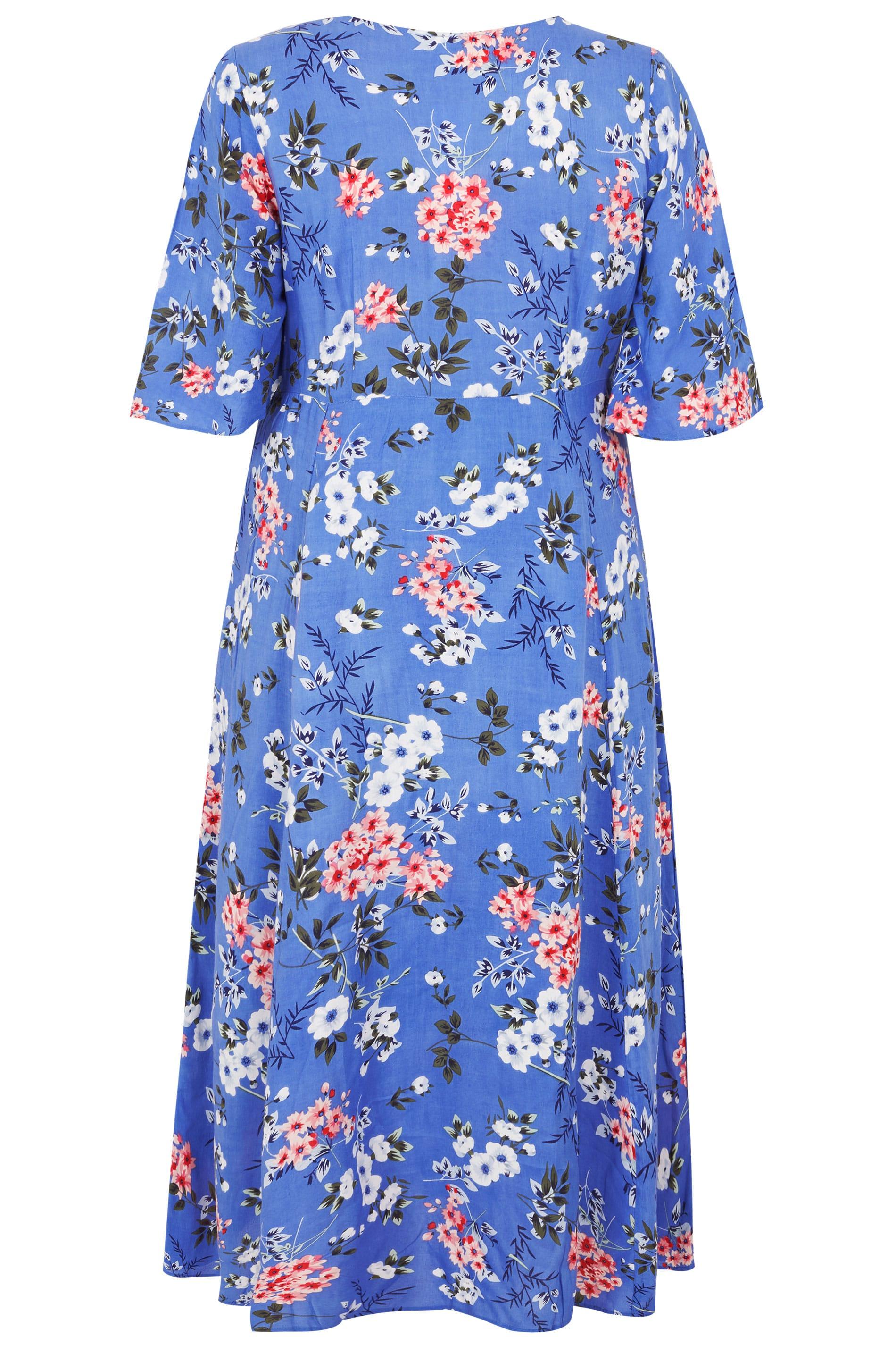 Blauwe maxi jurk met wijde mouwen & bloemenprint, grote maten 44 64