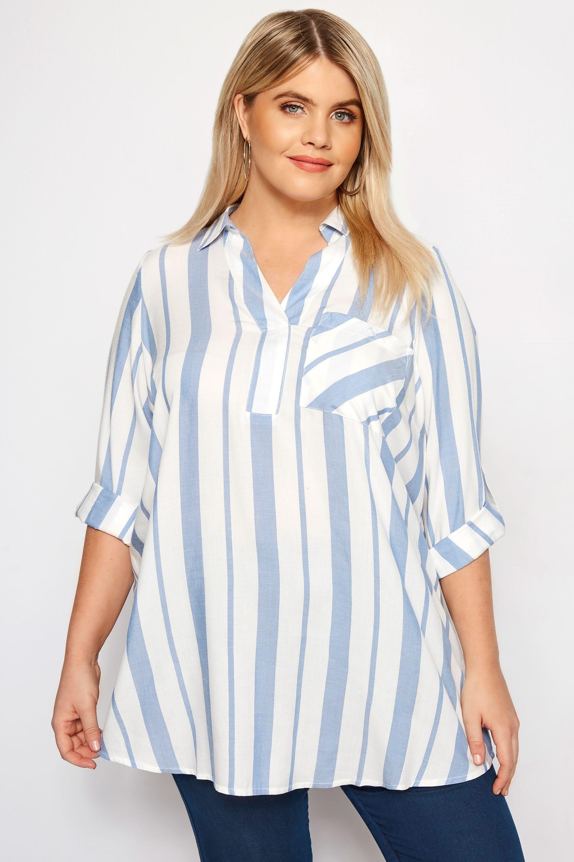 Blue & White Oversized Striped Shirt