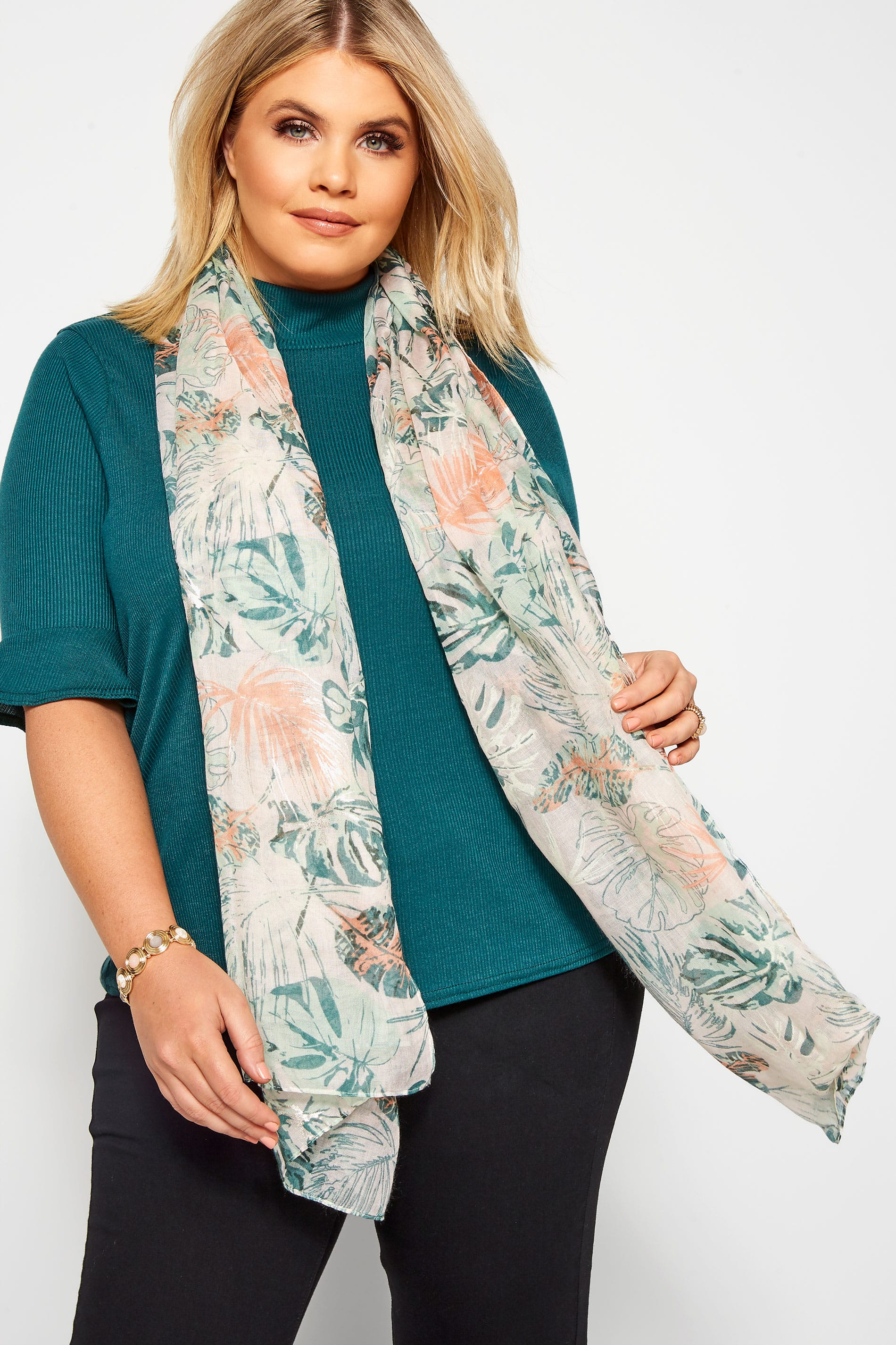 Yours Blush Pink & Green Tropical Foil Scarf