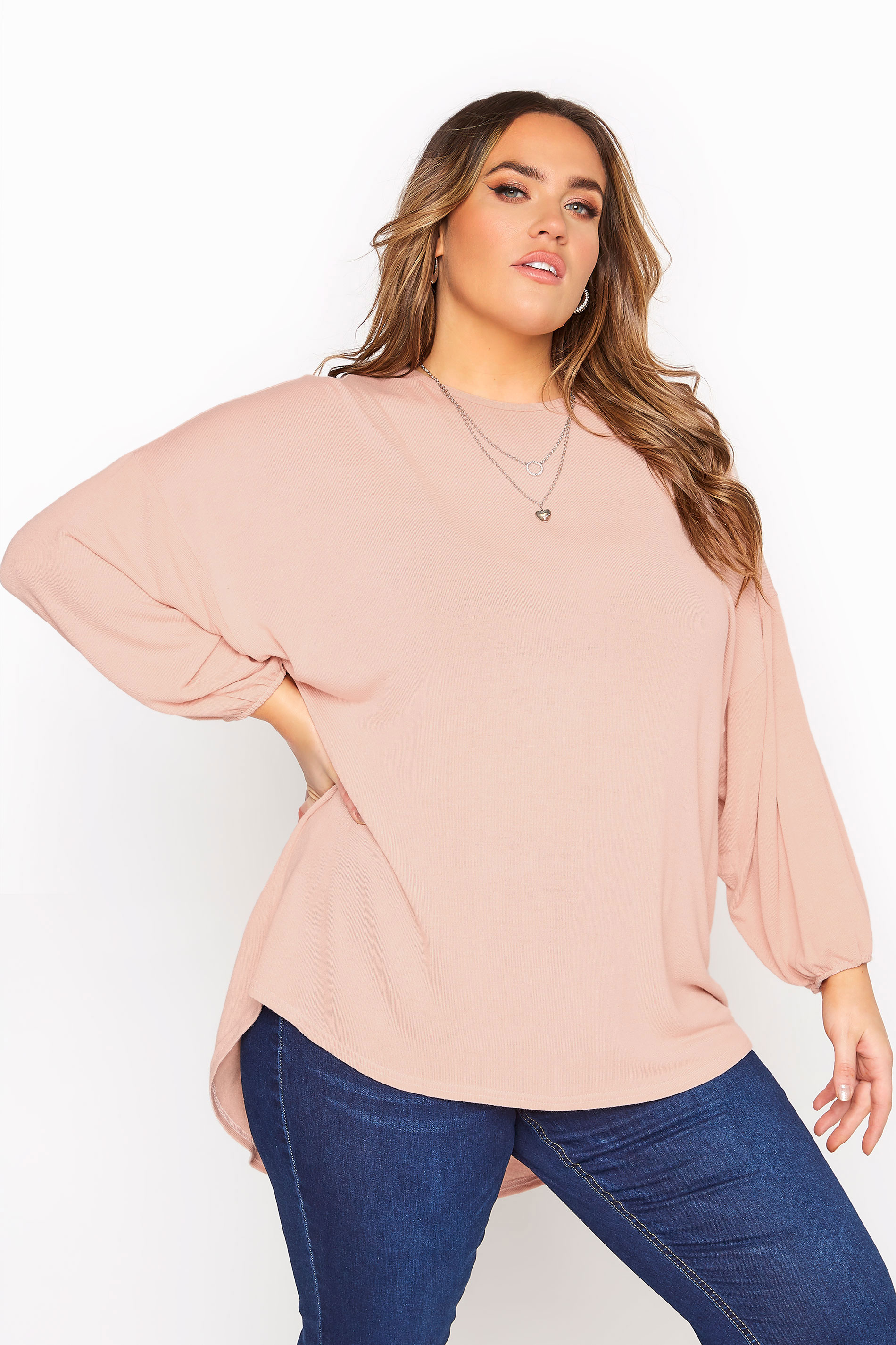 Blush Pink Soft Dipped Hem Knitted Top