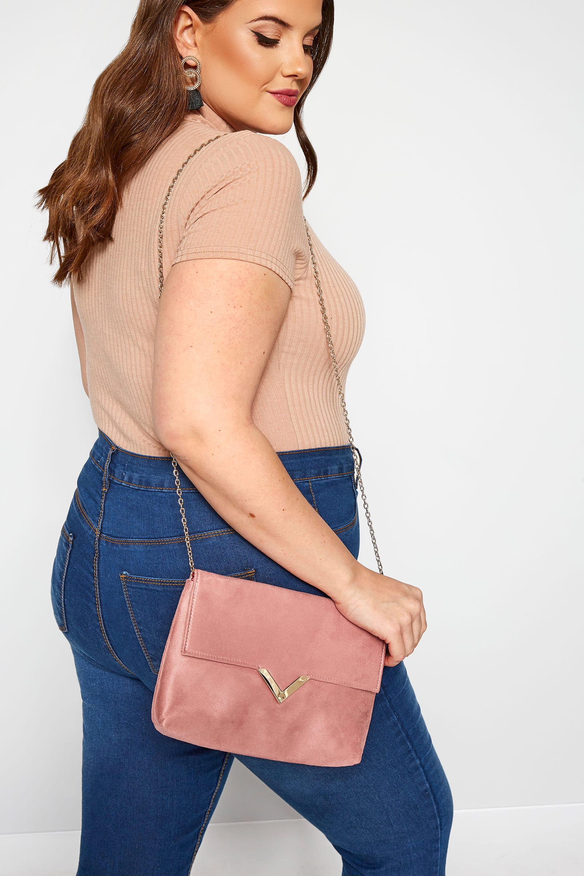 Blush Pink V Bar Envelope Clutch Bag