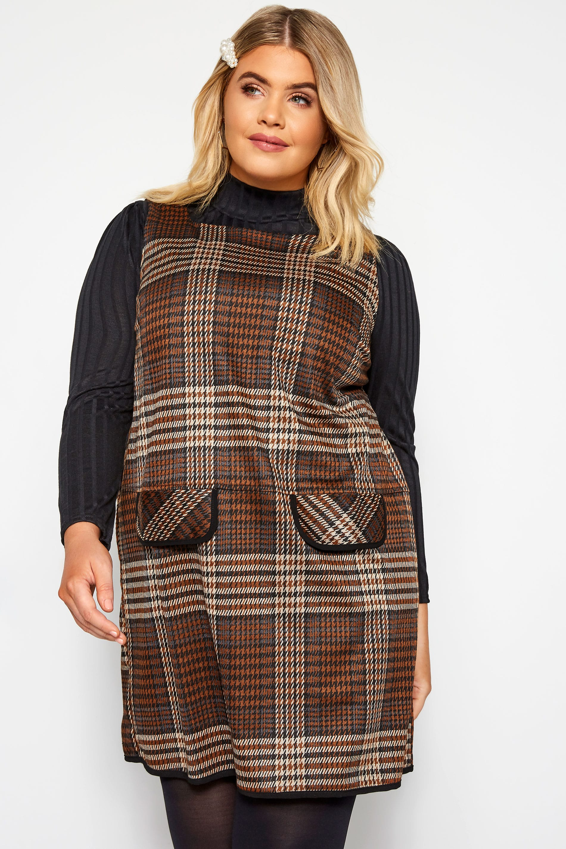 Brown Check Mock Pocket Tunic
