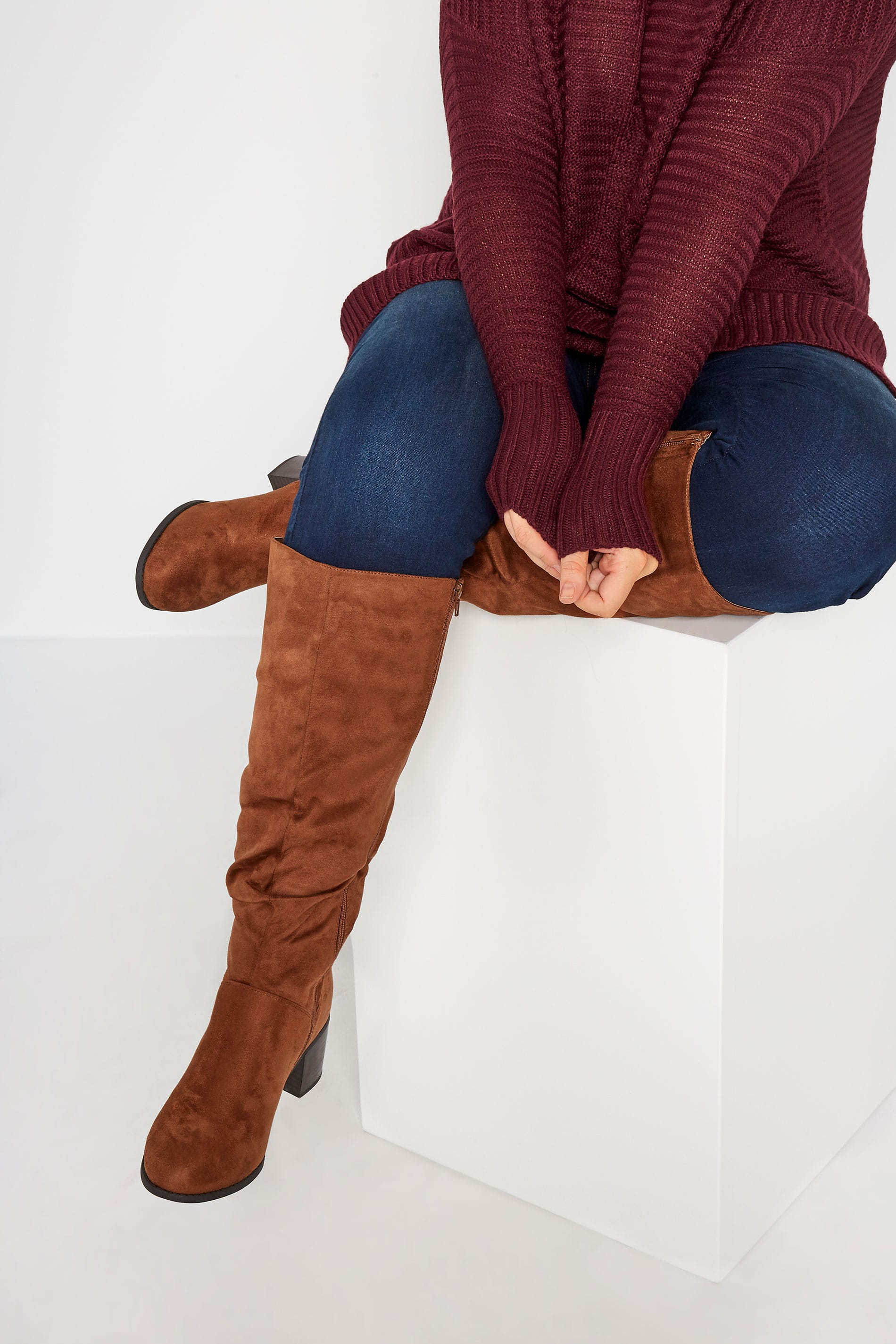 Brown Knee High Ruched Heeled Boots In Extra Wide Fit