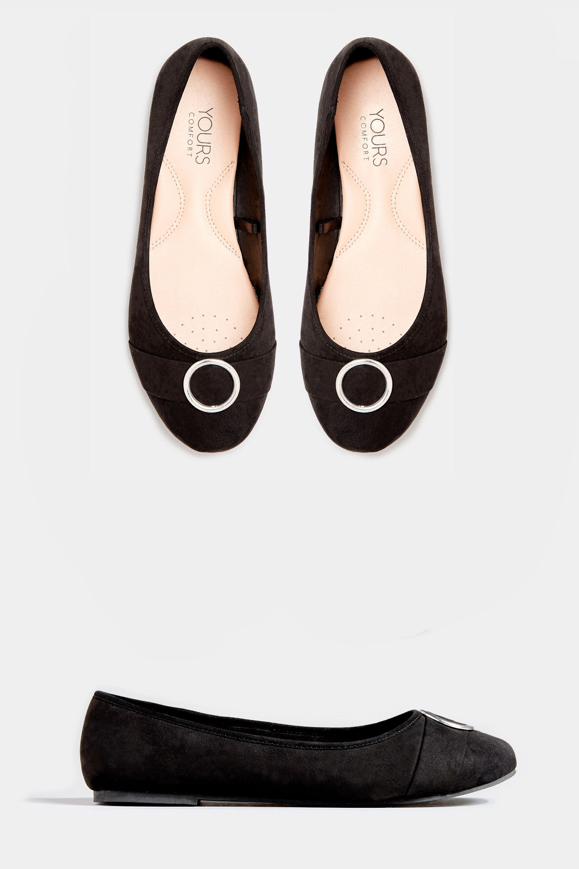 Black Metal Circle Ballerina Pumps In Extra Wide Fit