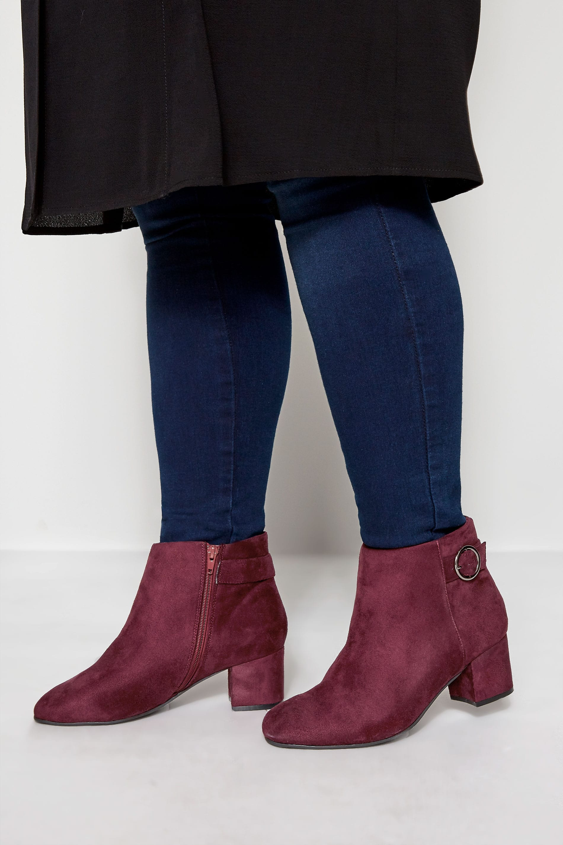 Burgundy Round Buckle Heeled Ankle Boots In Extra Wide Fit