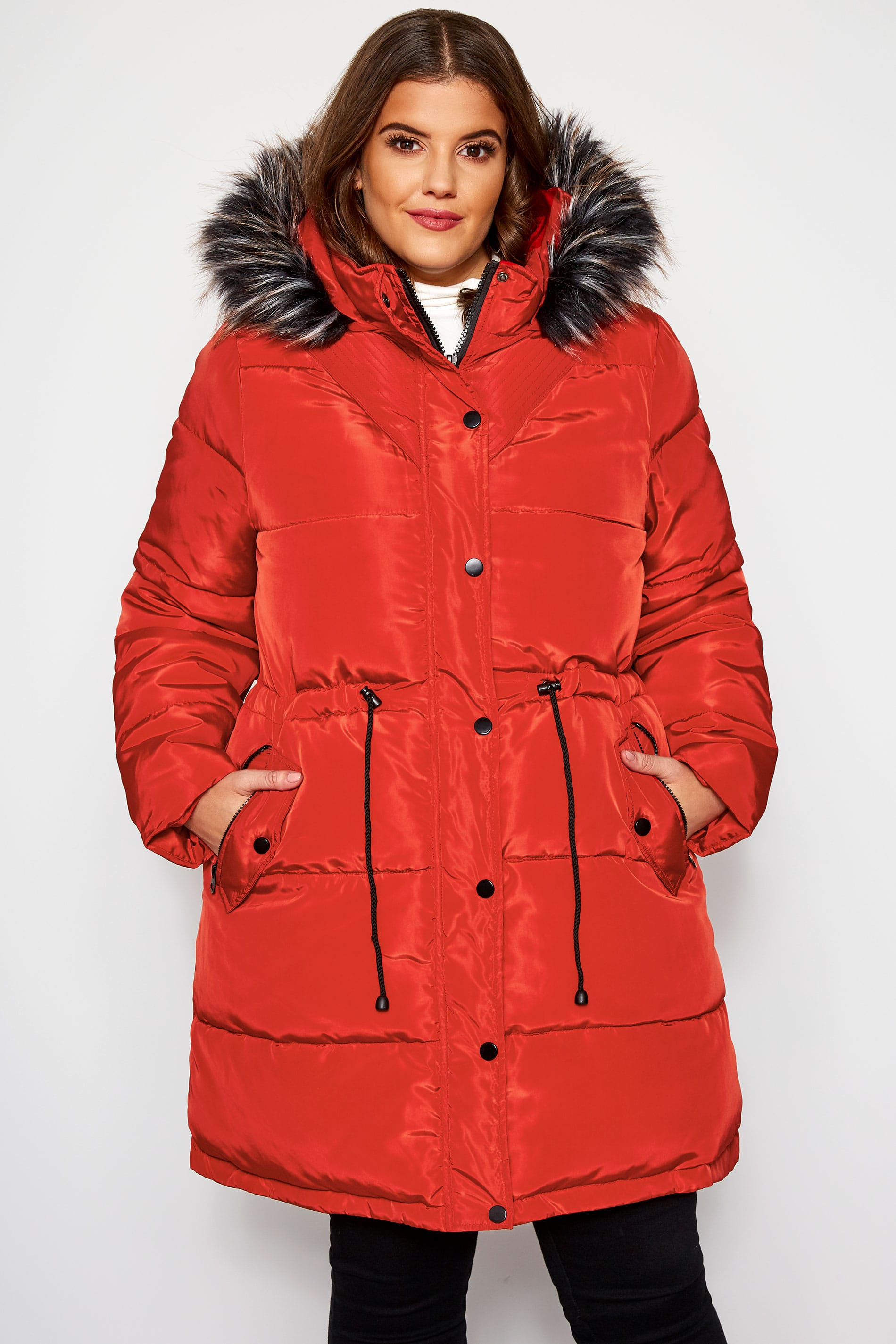 Burnt Orange Longline Puffer Coat | Sizes 16-36 | Yours ...