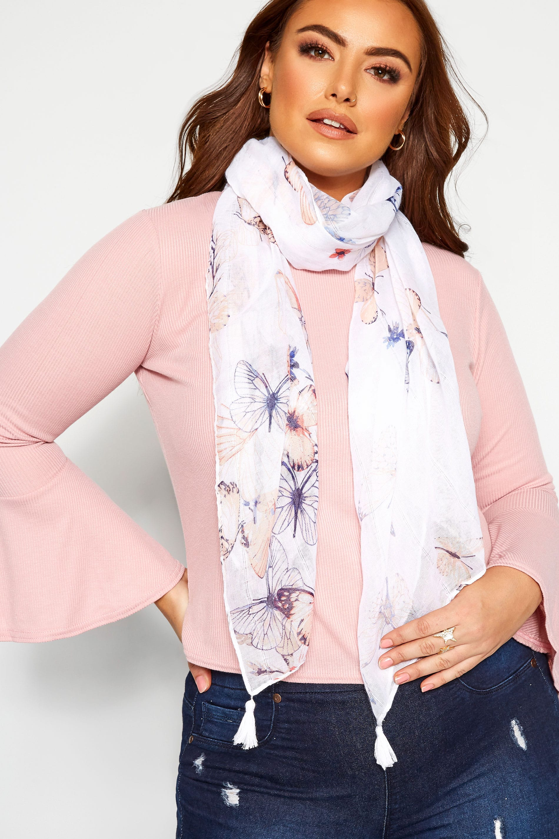 White Butterfly Sequin Scarf