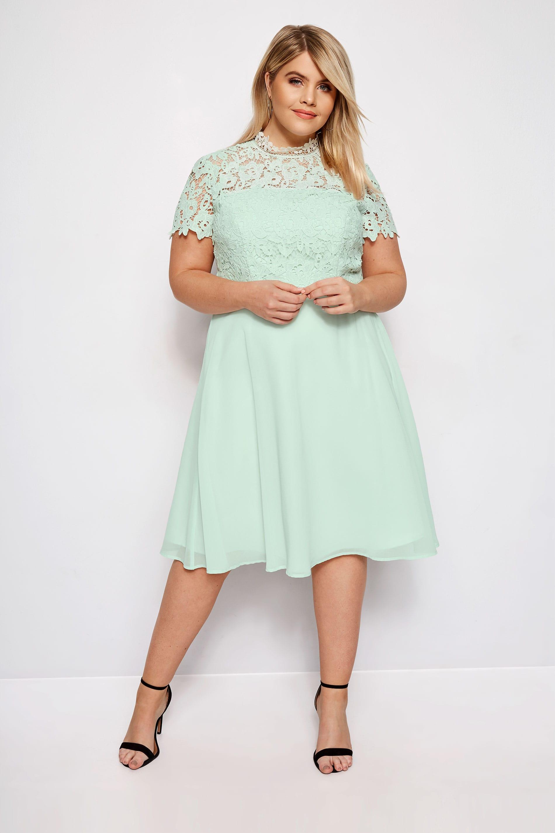 Wonderbaar CHI CHI Mintgroene Sonny jurk, grote maten 44-54   Yours Clothing HW-85