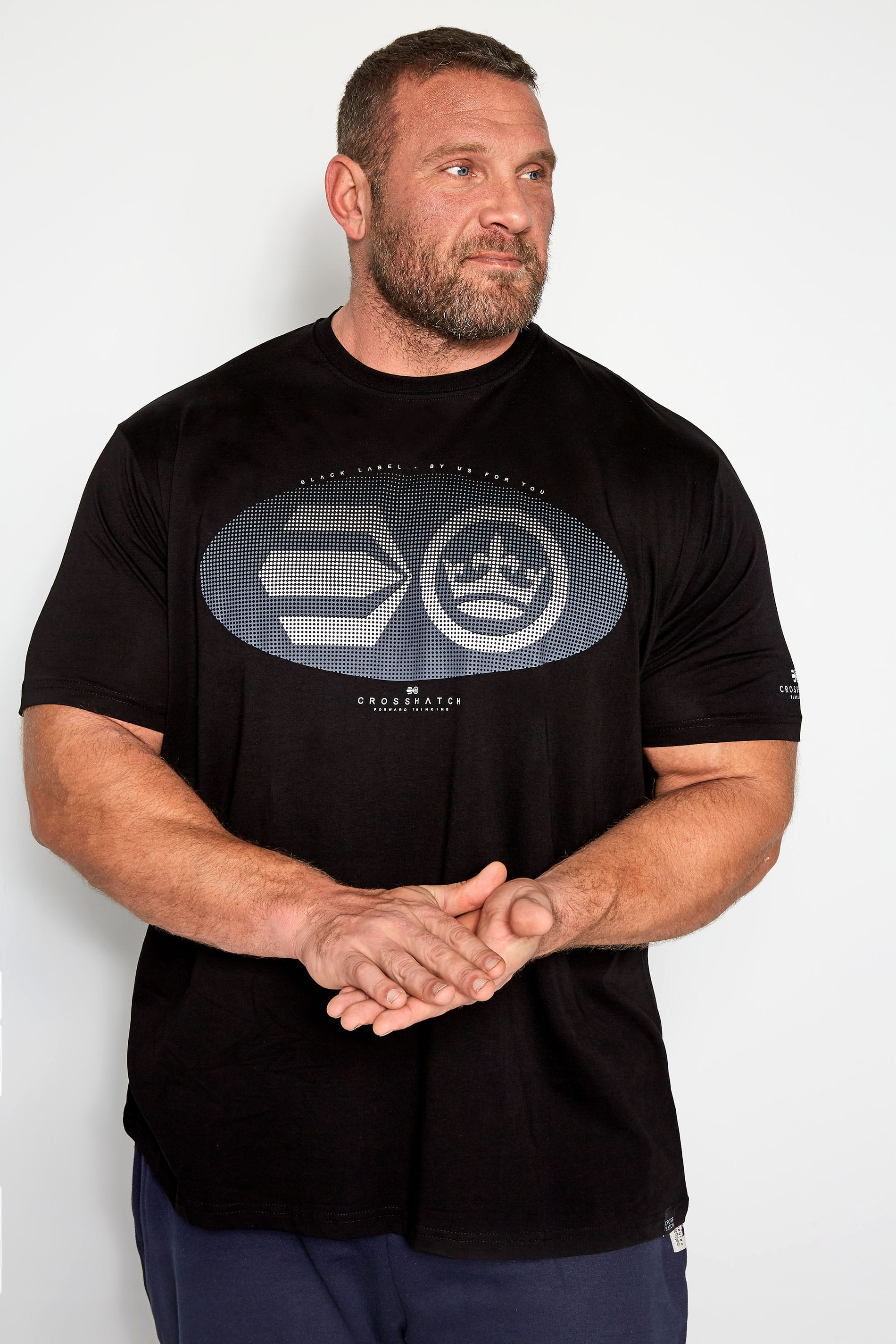 CROSSHATCH Black Textured Graphic Print T-Shirt