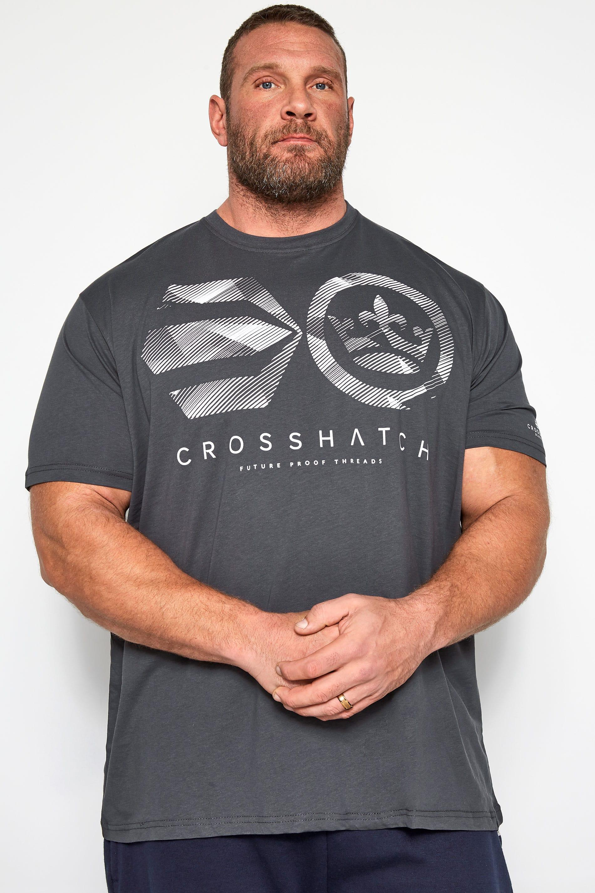 CROSSHATCH Charcoal Grey Graphic Logo Print T-Shirt