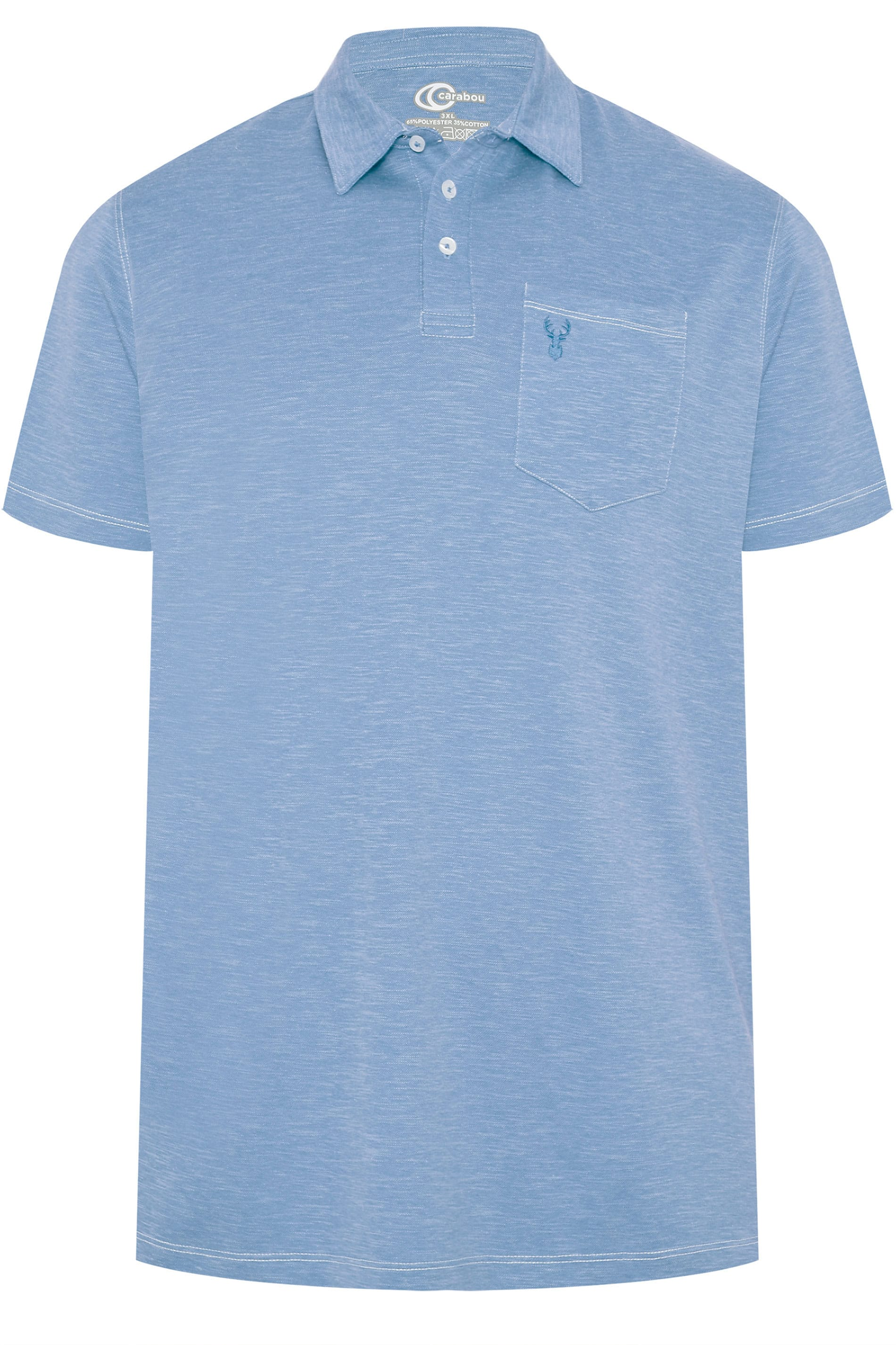 CARABOU Light Blue Marl Polo Shirt