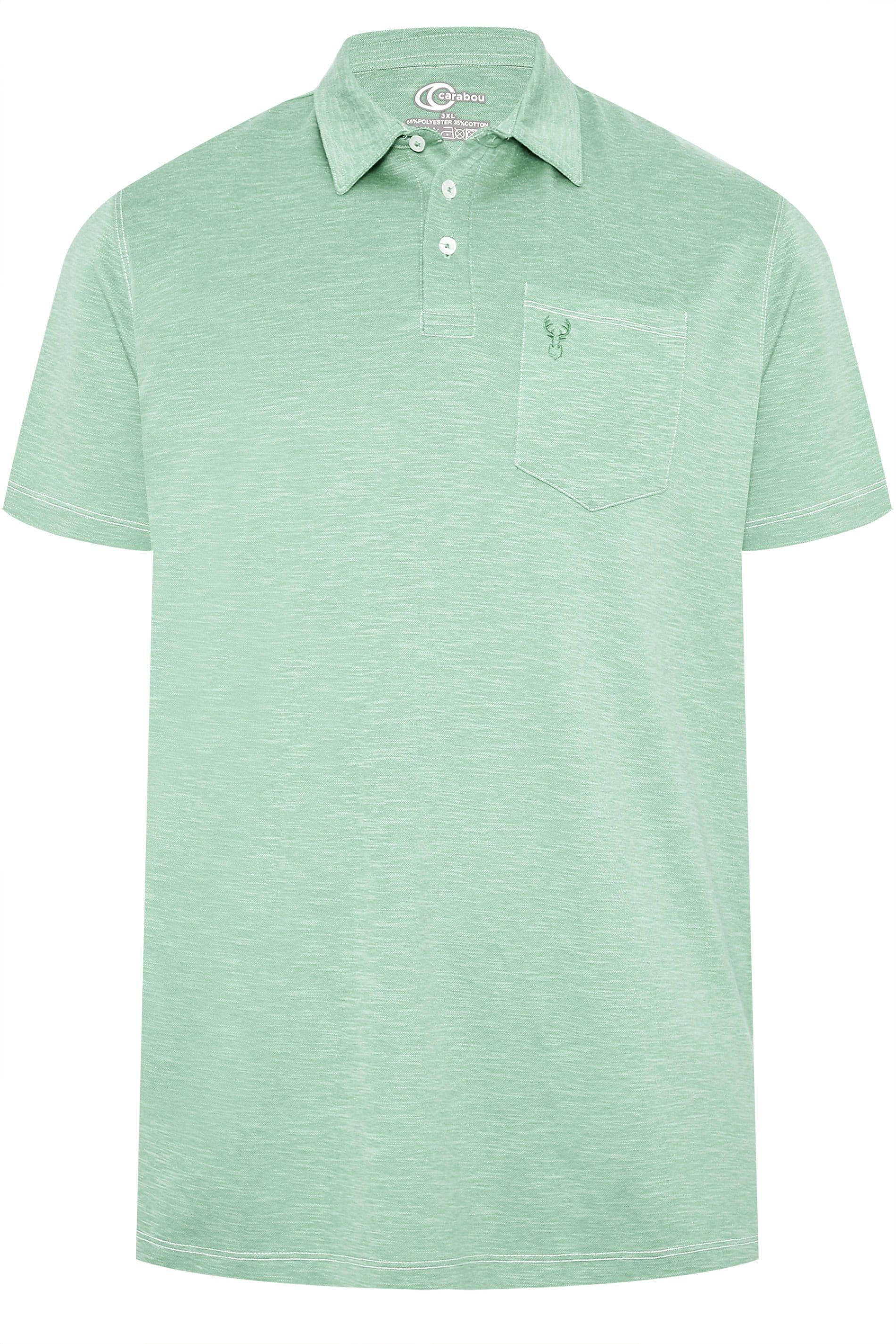CARABOU Aqua Green Marl Polo Shirt