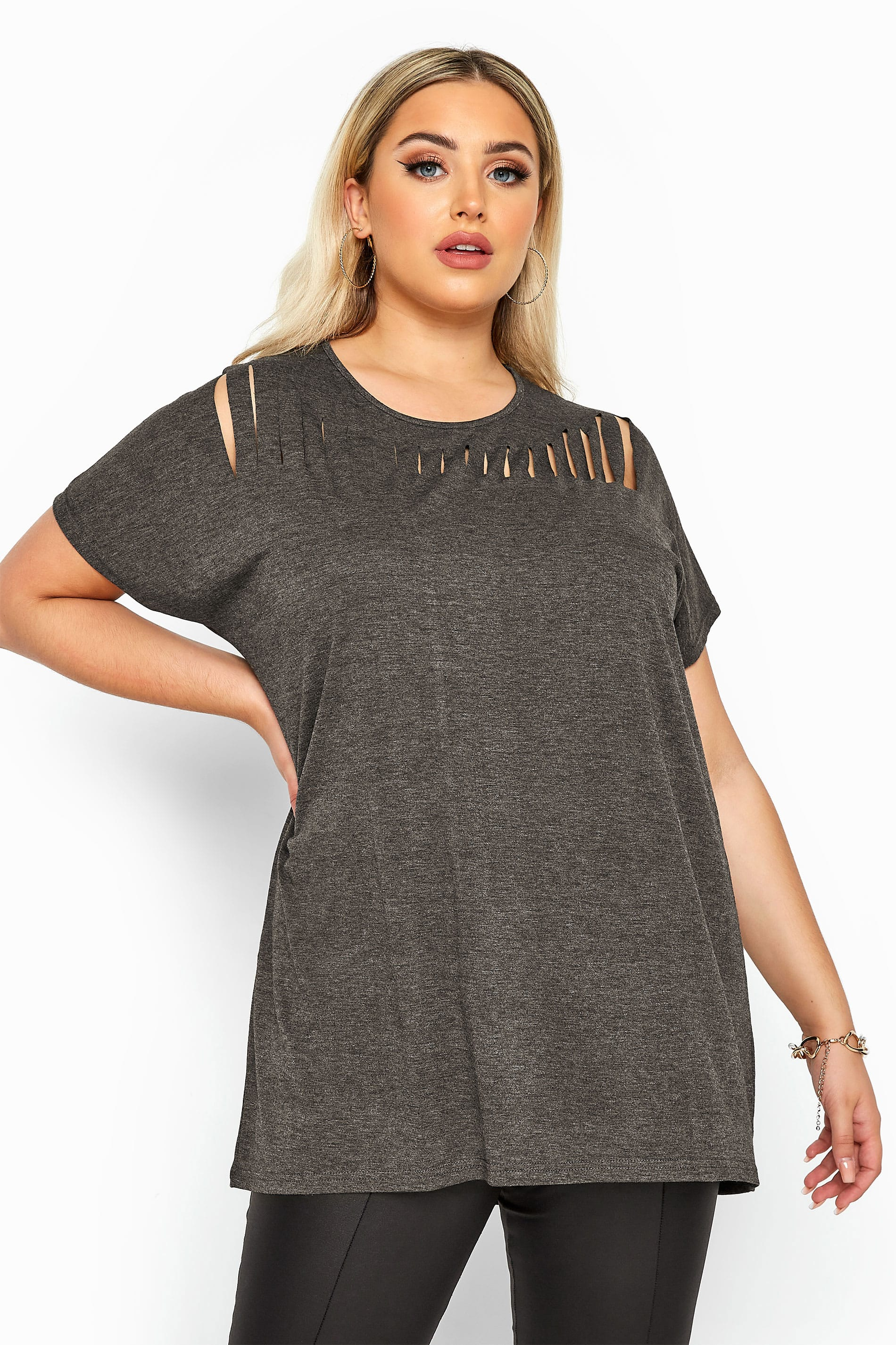 Charcoal Grey Marl Laser Cut Jersey Top