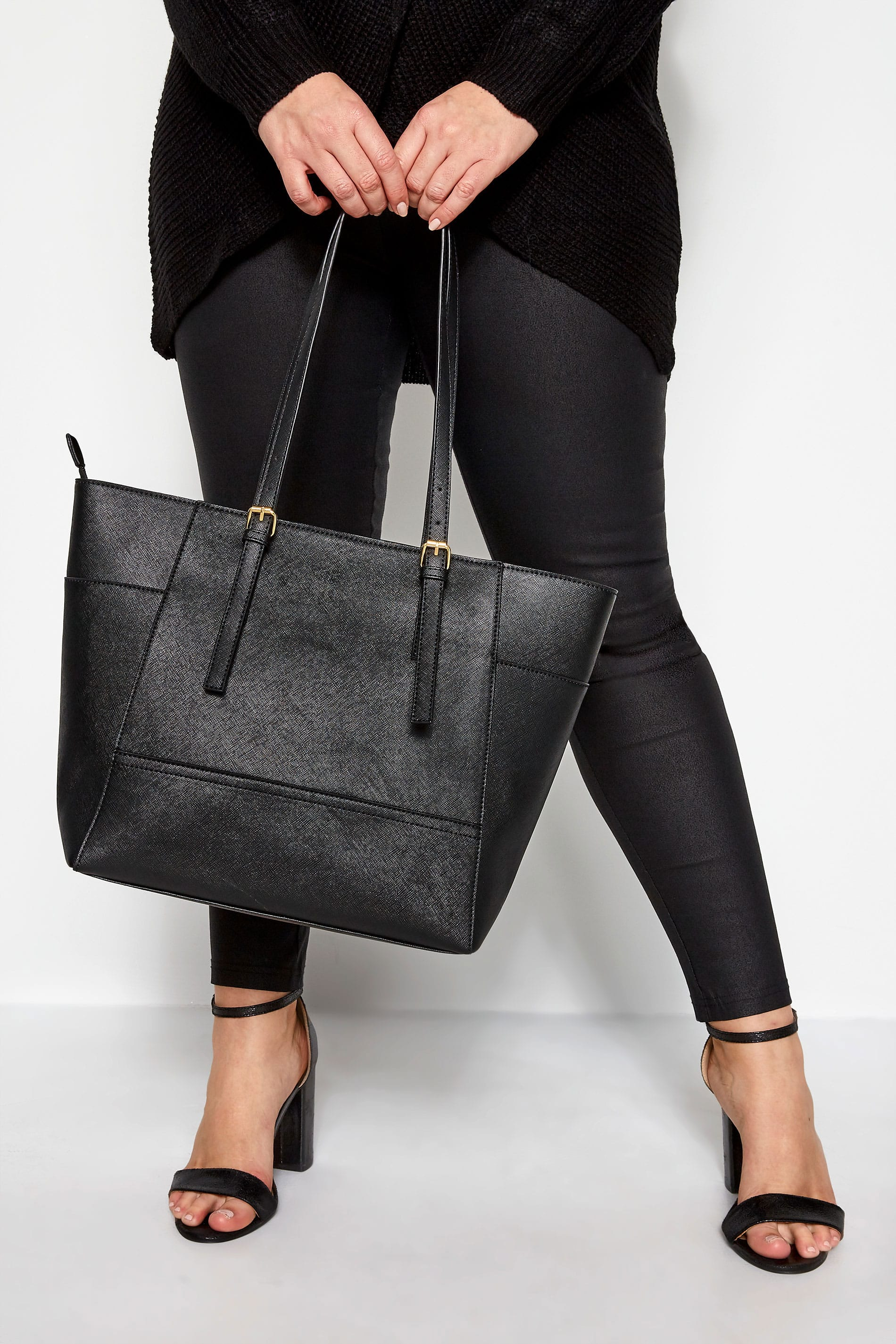 Black Contrast Detail Shopper Bag