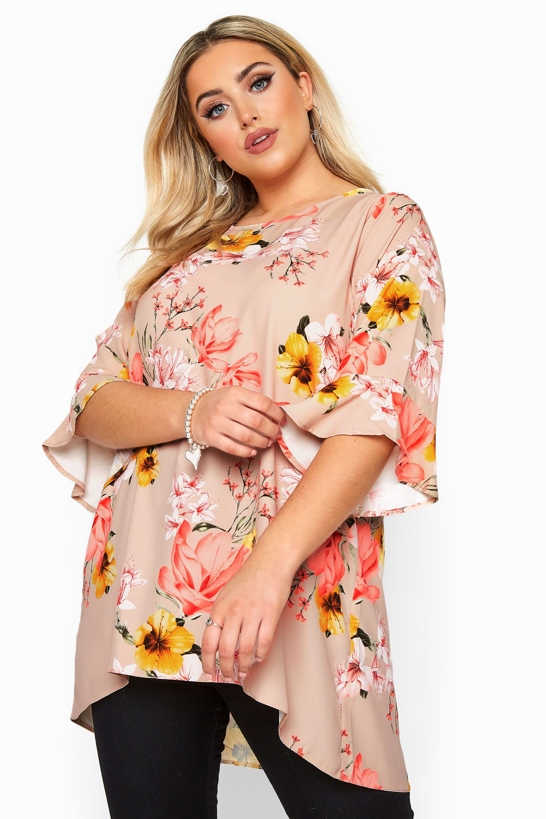 YOURS LONDON Stone Floral Flute Sleeve Tunic