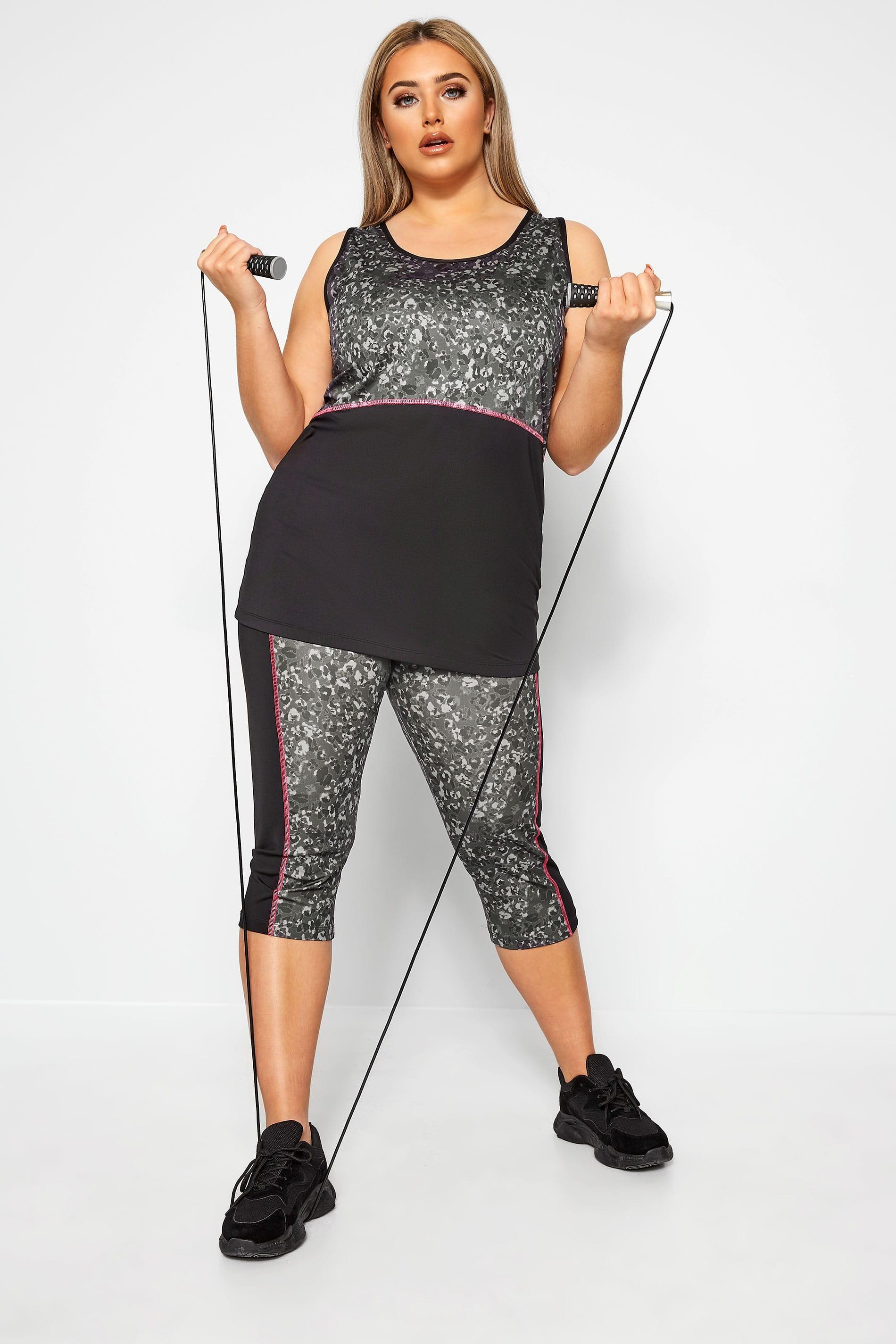 ACTIVE - 3/4-legging met luipaardprint in grijs