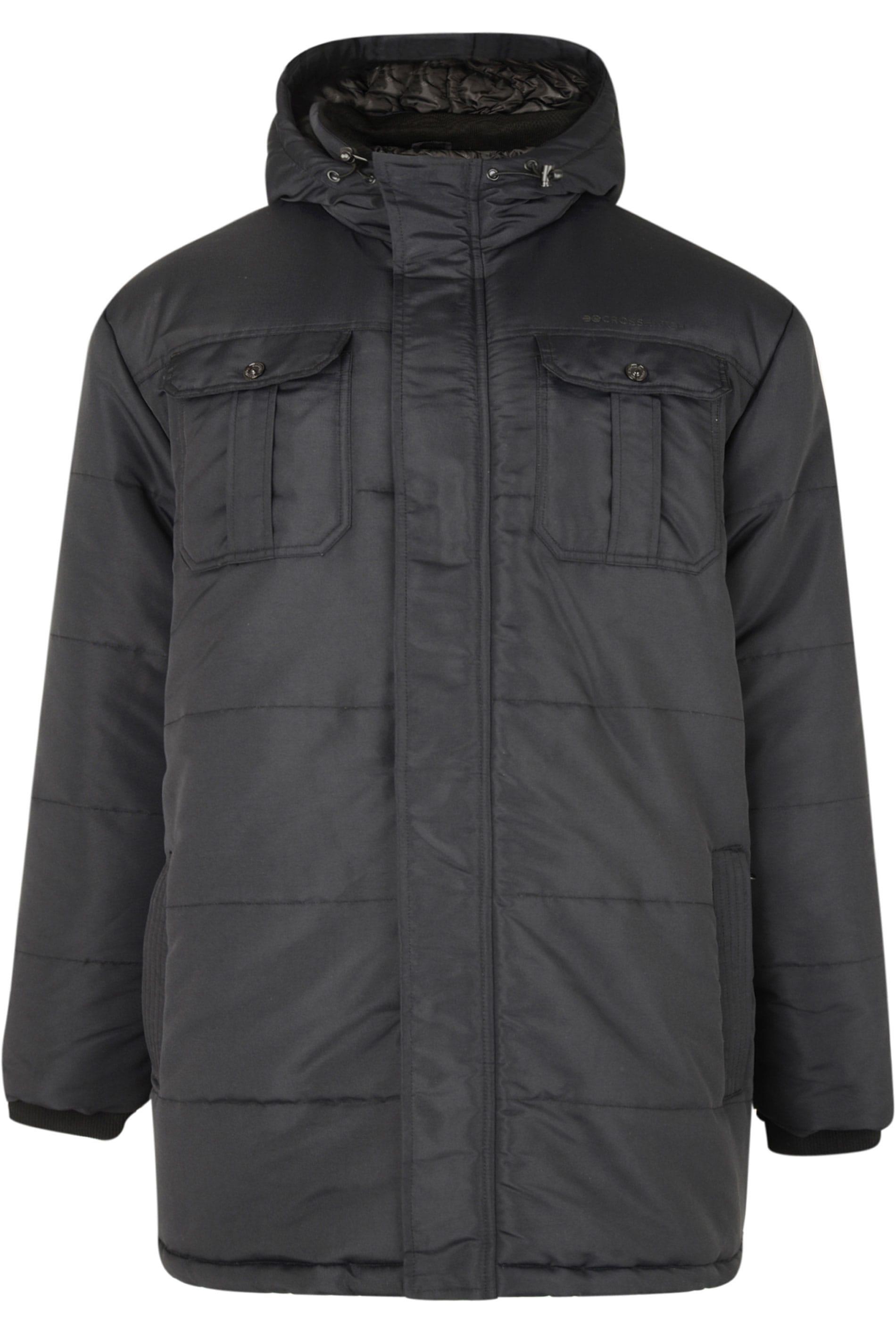 CROSSHATCH Black Padded Parka Jacket