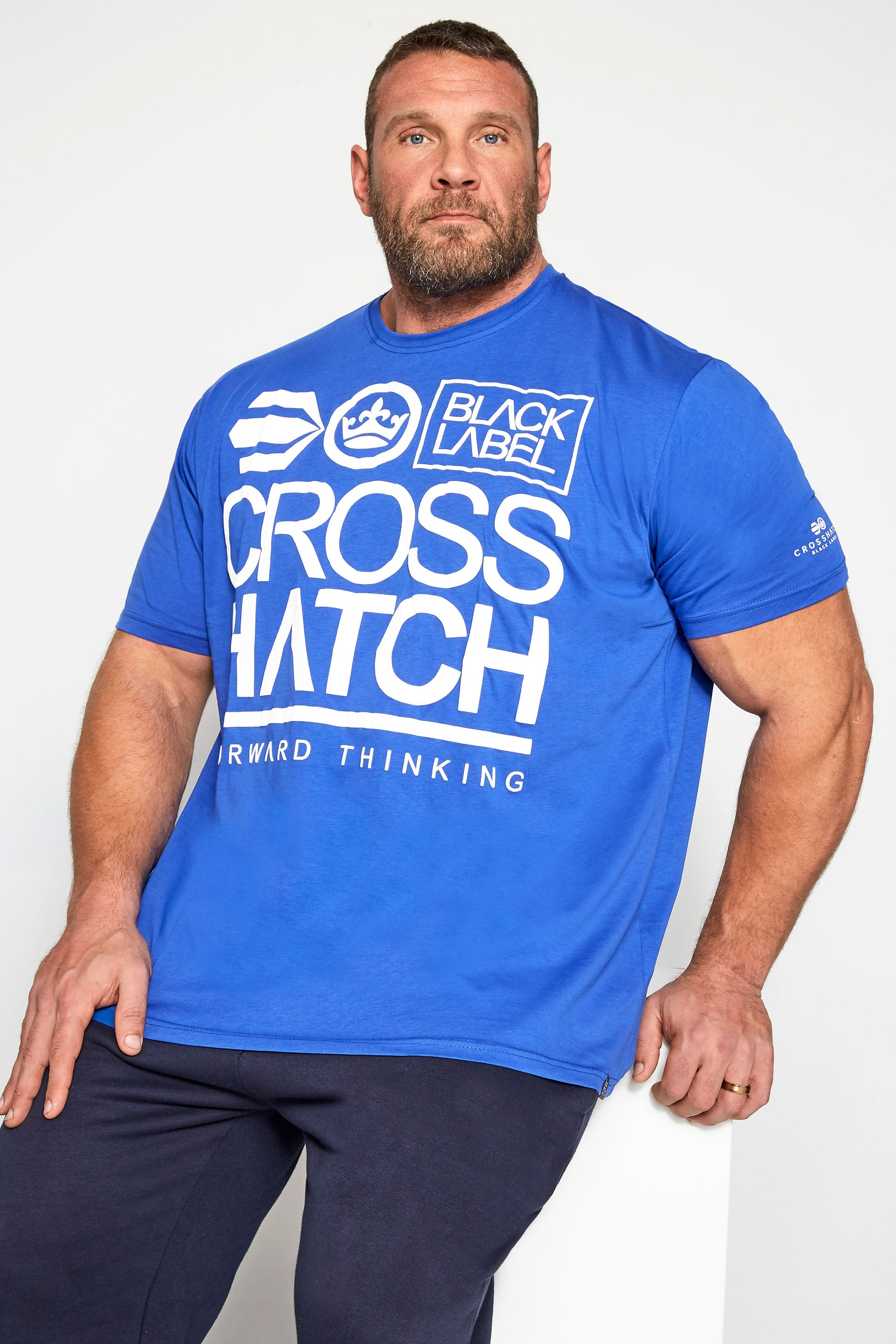 Crosshatch Blue Logo Graphic Print T-Shirt
