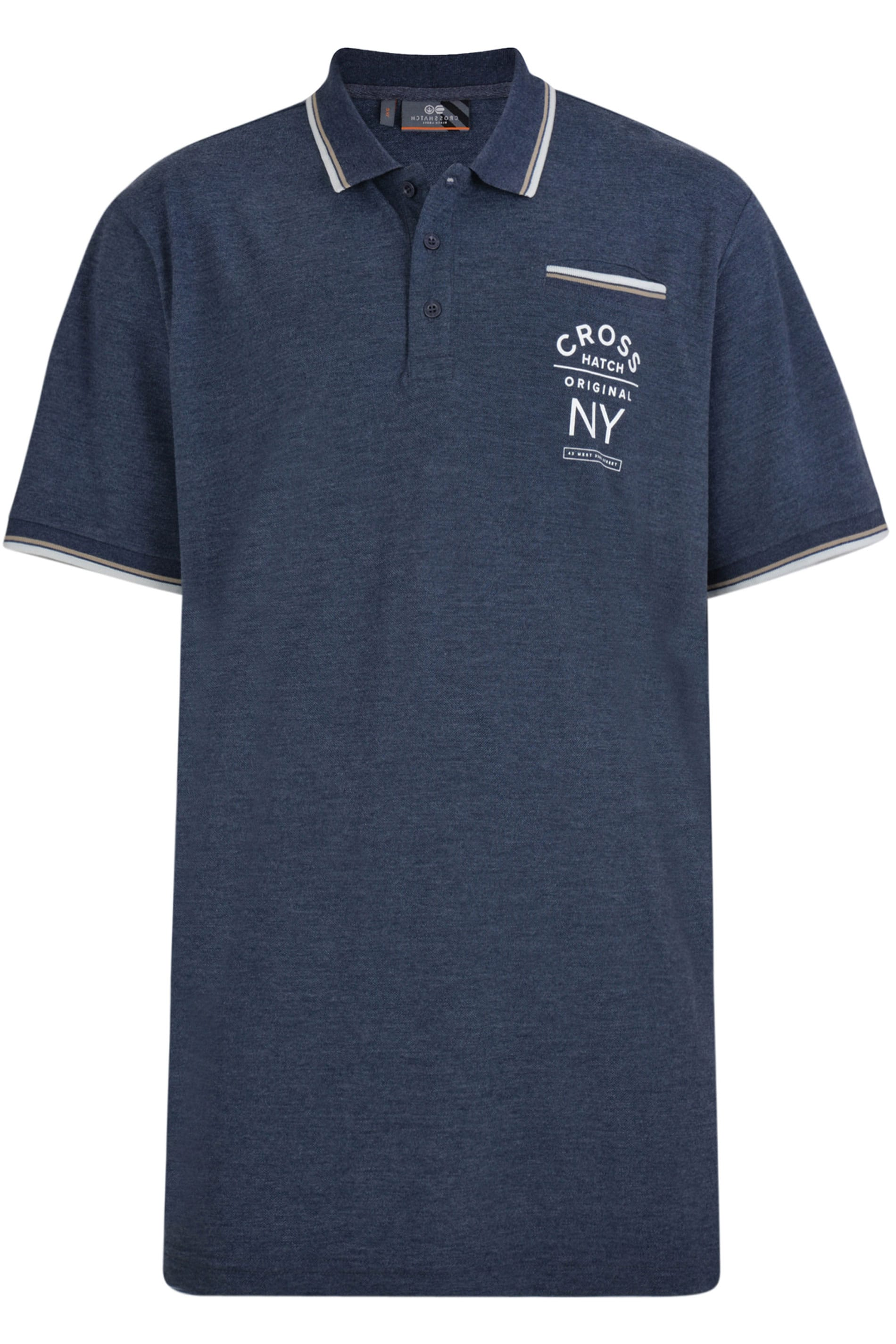 CROSSHATCH Navy Pique Polo Shirt