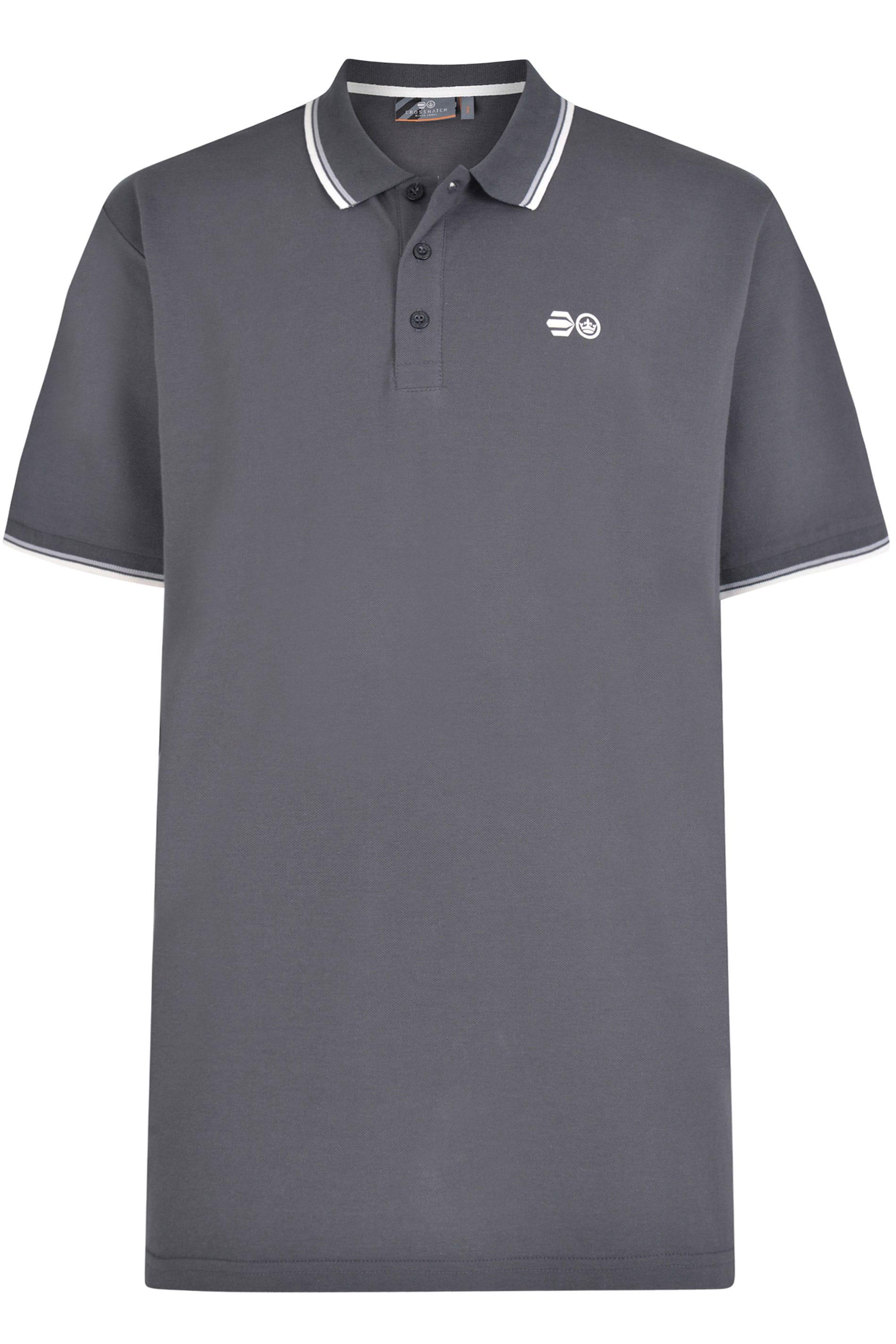 Crosshatch Grey Tipped Polo Shirt