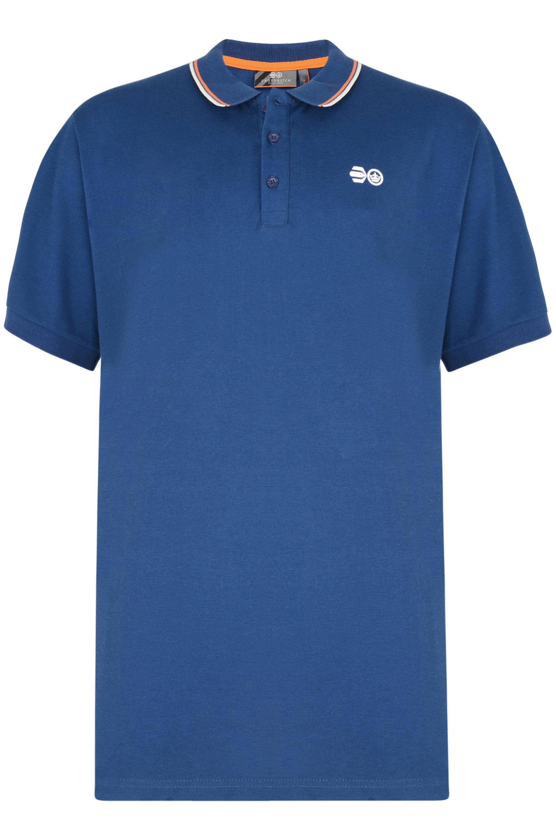 Crosshatch Blue Tipped Polo Shirt