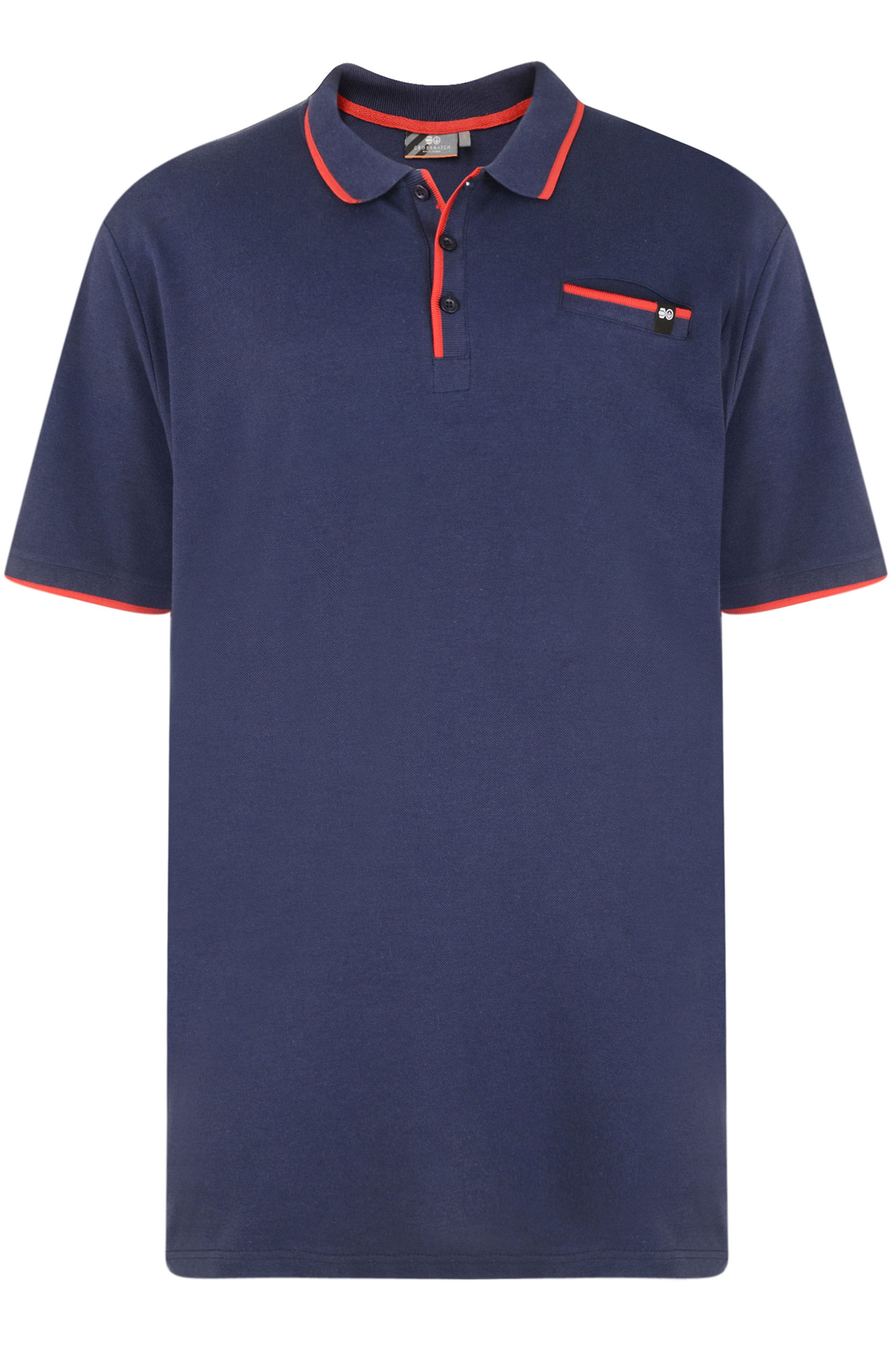 CROSSHATCH Navy & Orange Tipped Polo Shirt