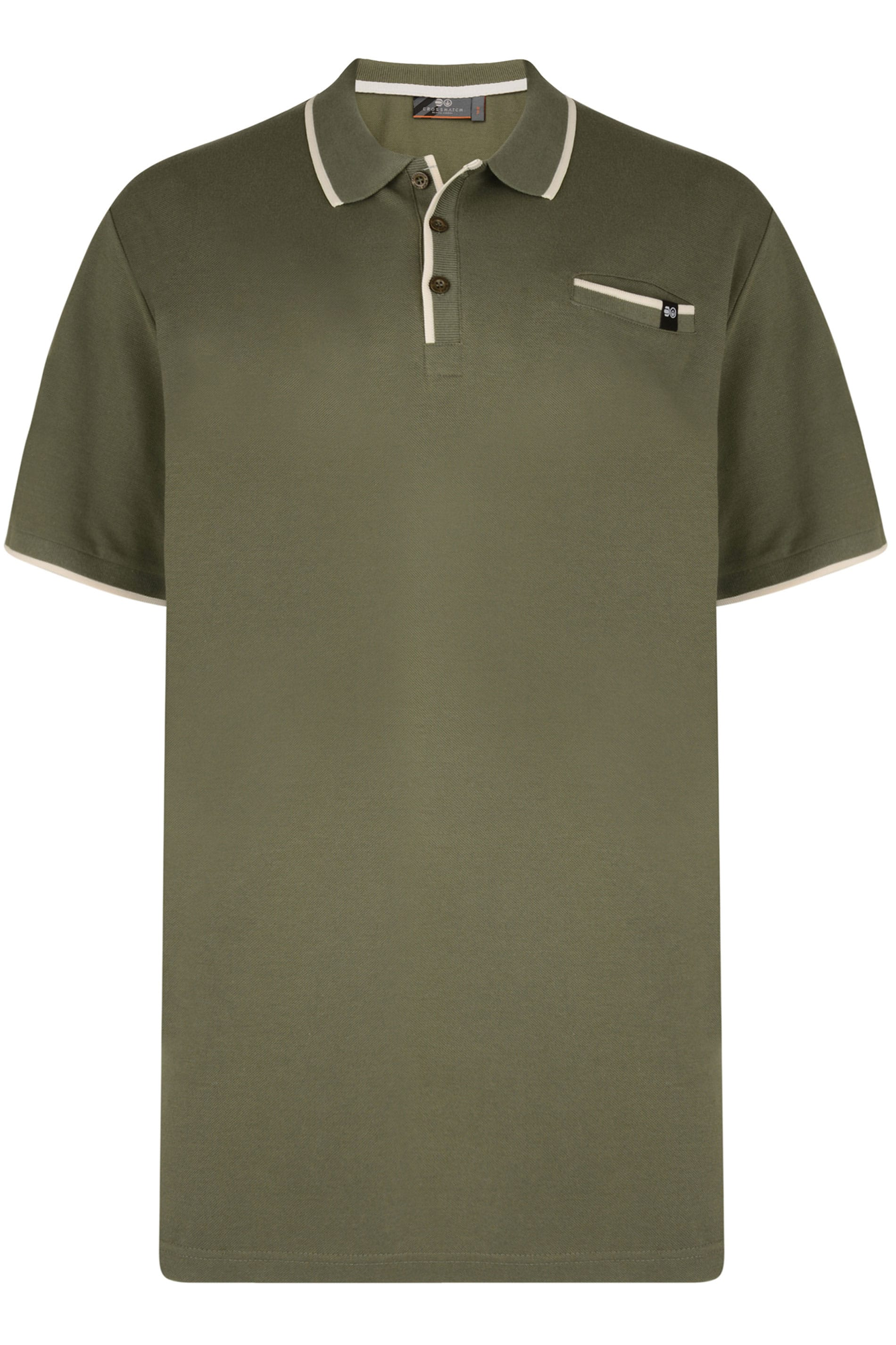 CROSSHATCH Green & White Tipped Polo Shirt