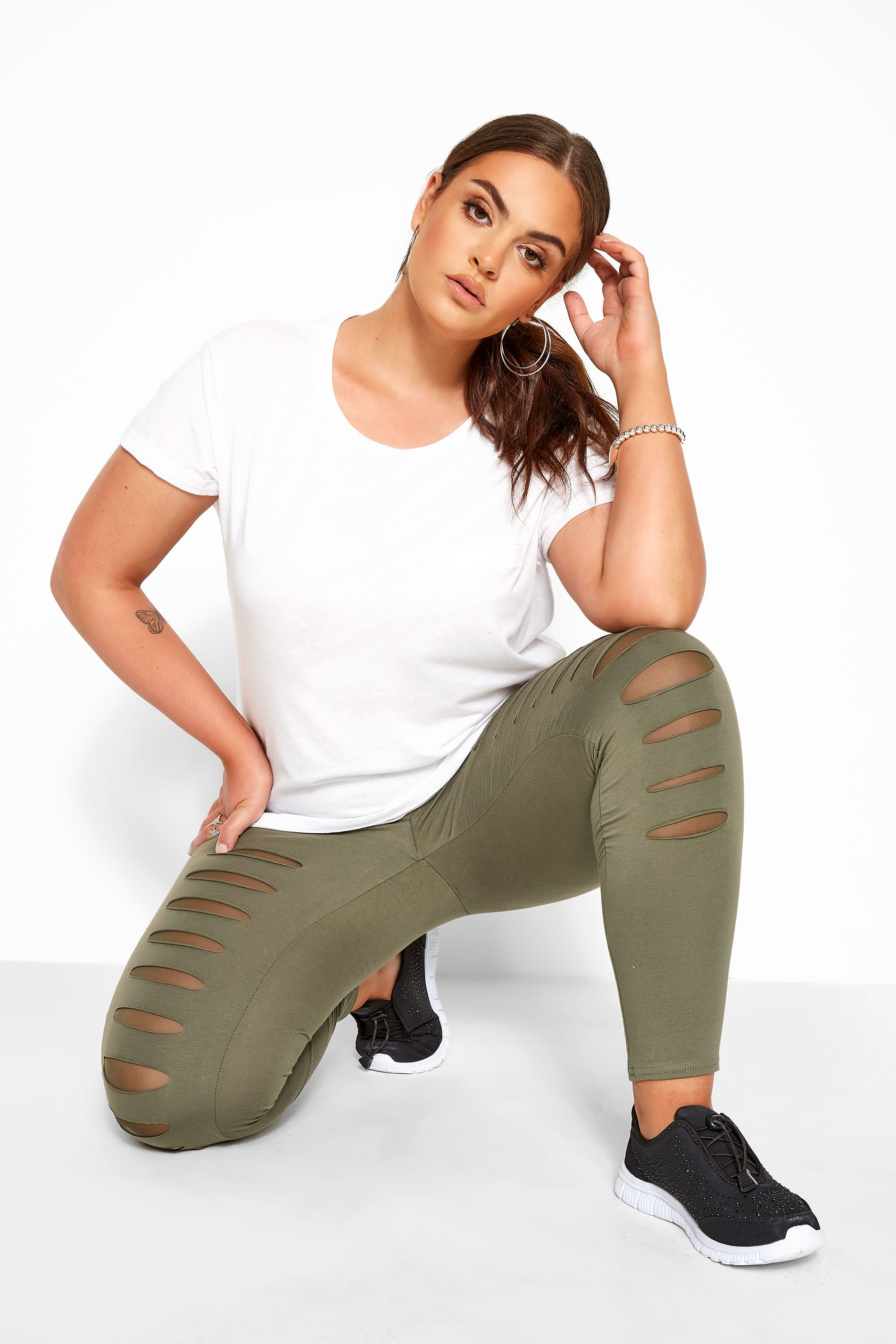 Khaki Ripped Mesh Insert Leggings
